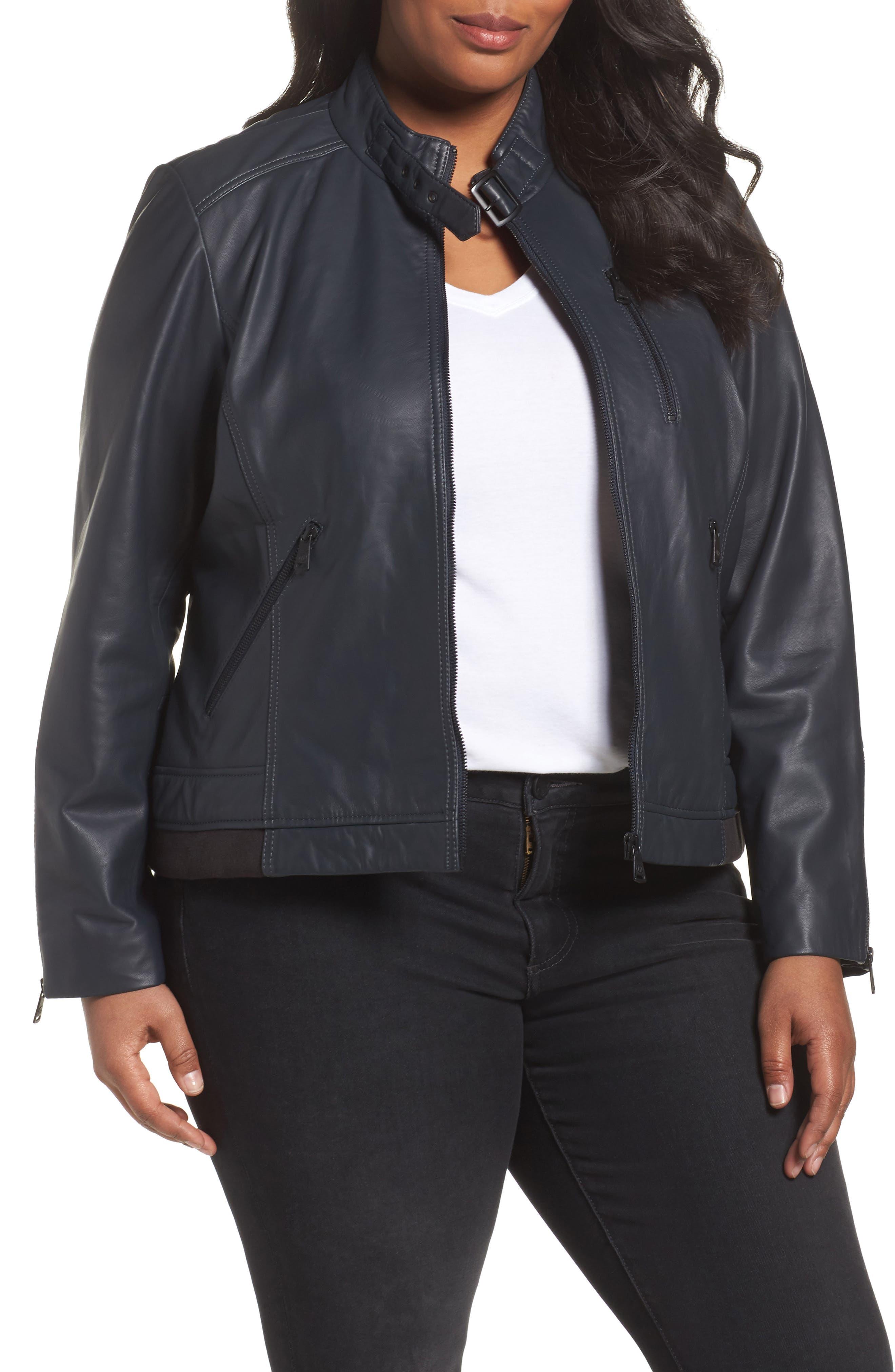 Bernardo Jetta Knit Detail Leather Scuba Jacket (Plus Size)