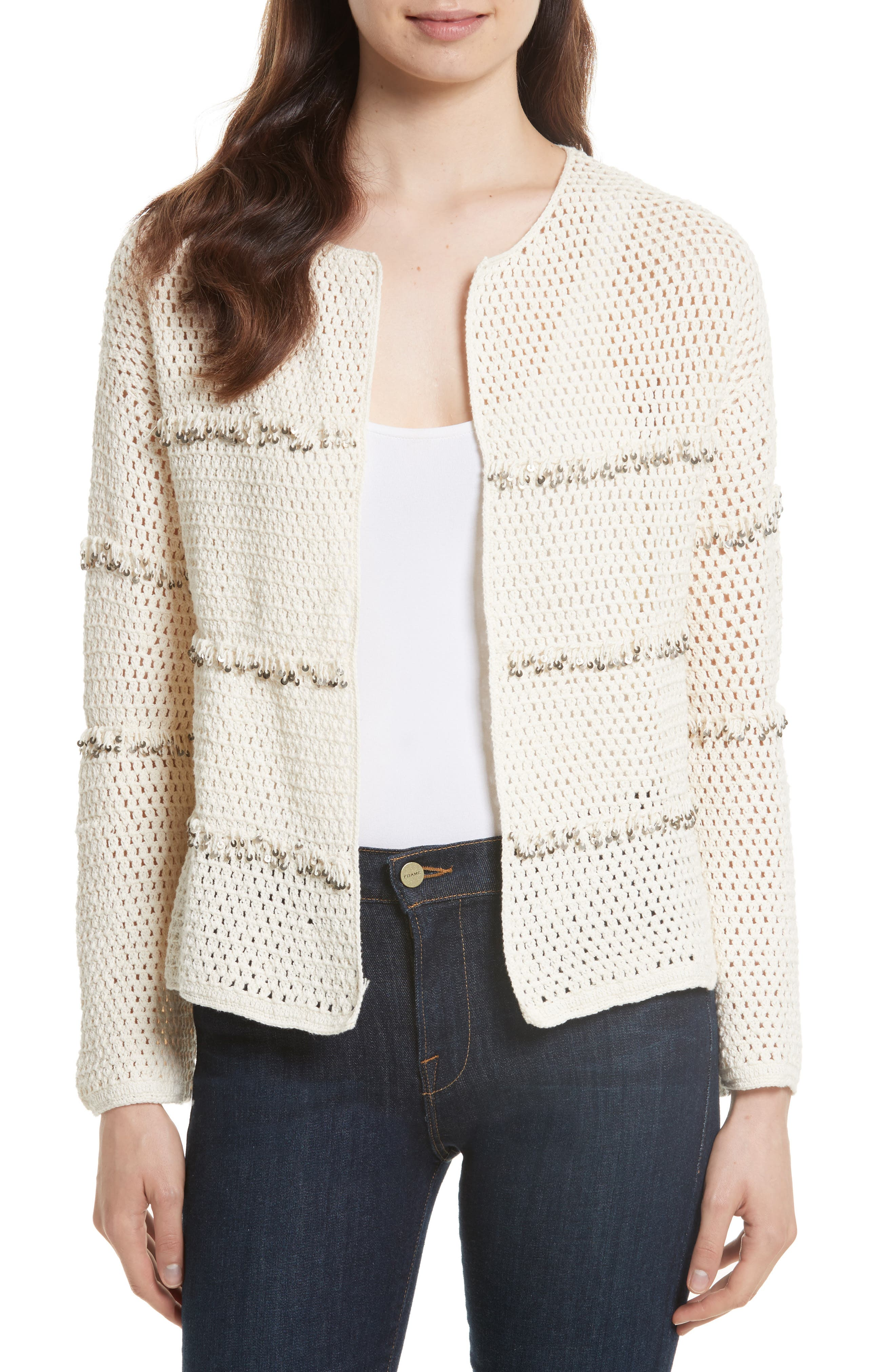 Joie Jacquine Embellished Open Front Cardigan