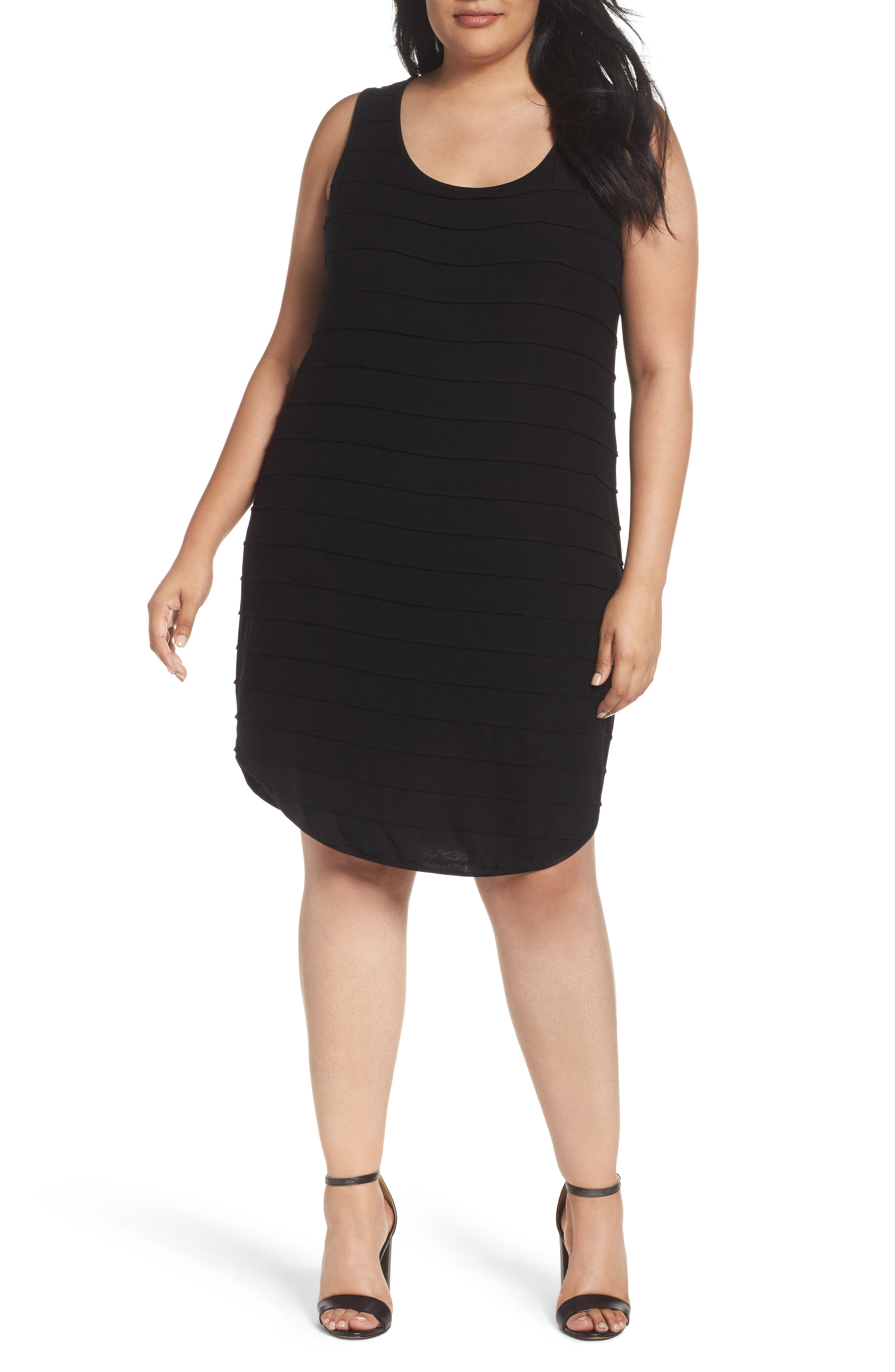 Three Dots Pintuck Jersey Tank Dress (Plus Size)