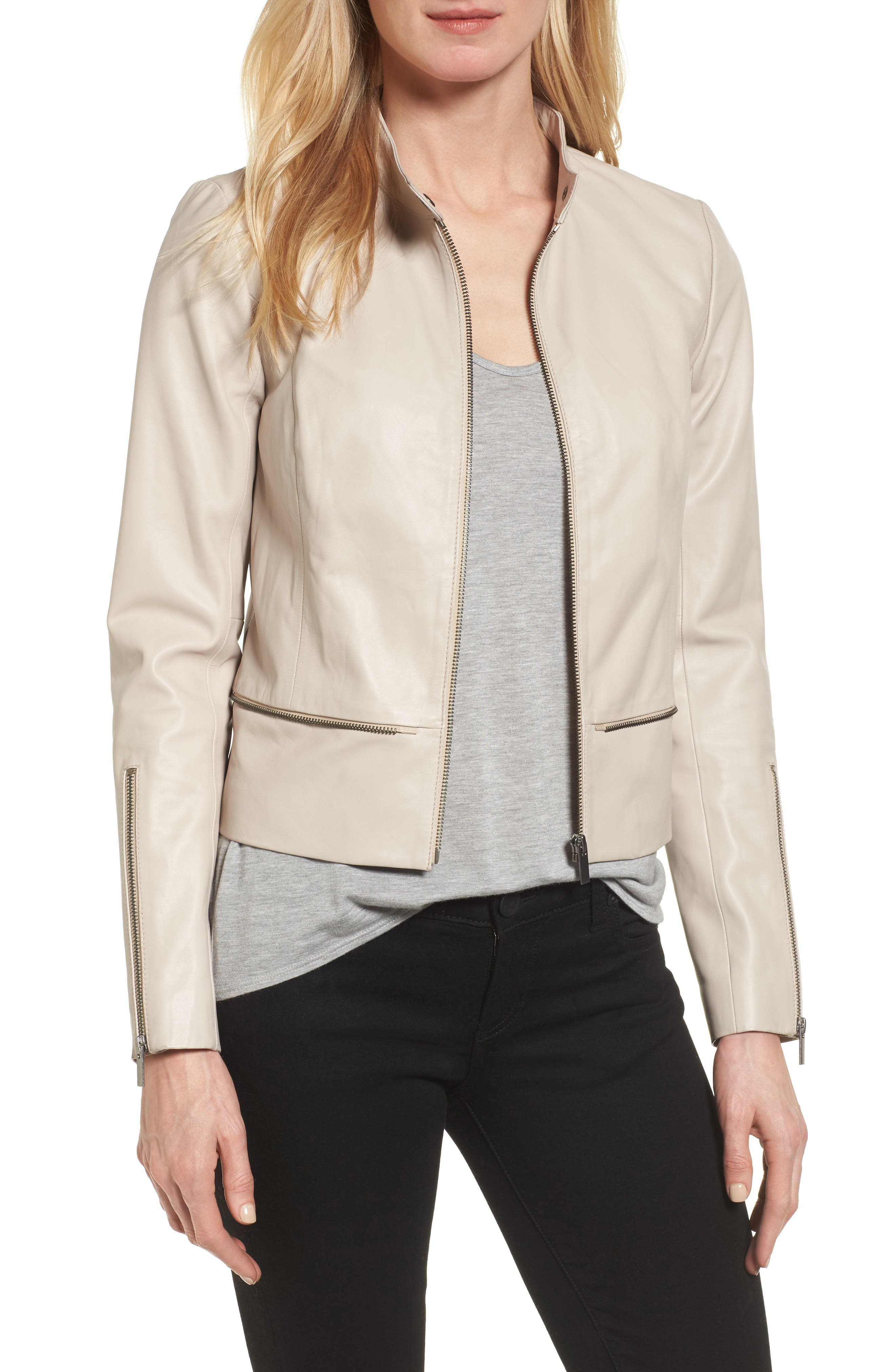 Halogen® Zip Detail Leather Moto Jacket (Regular & Petite)