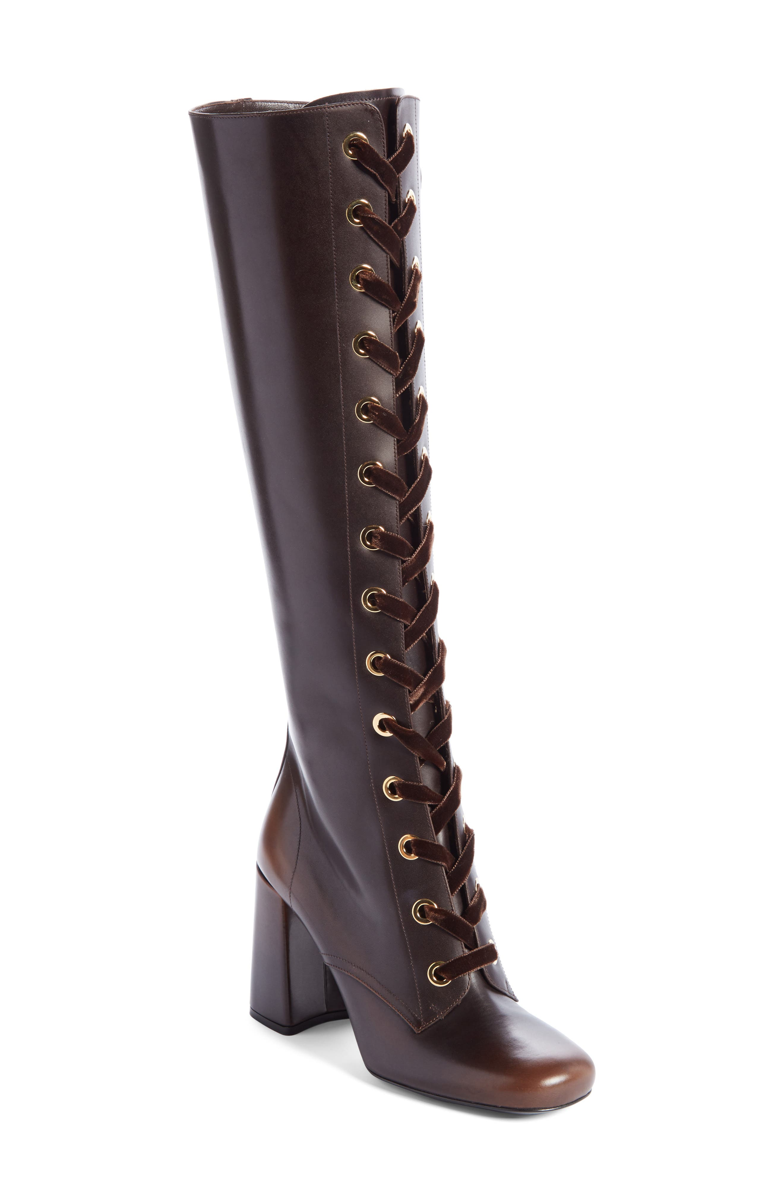 Prada Lace-Up Tall Boot (Women)