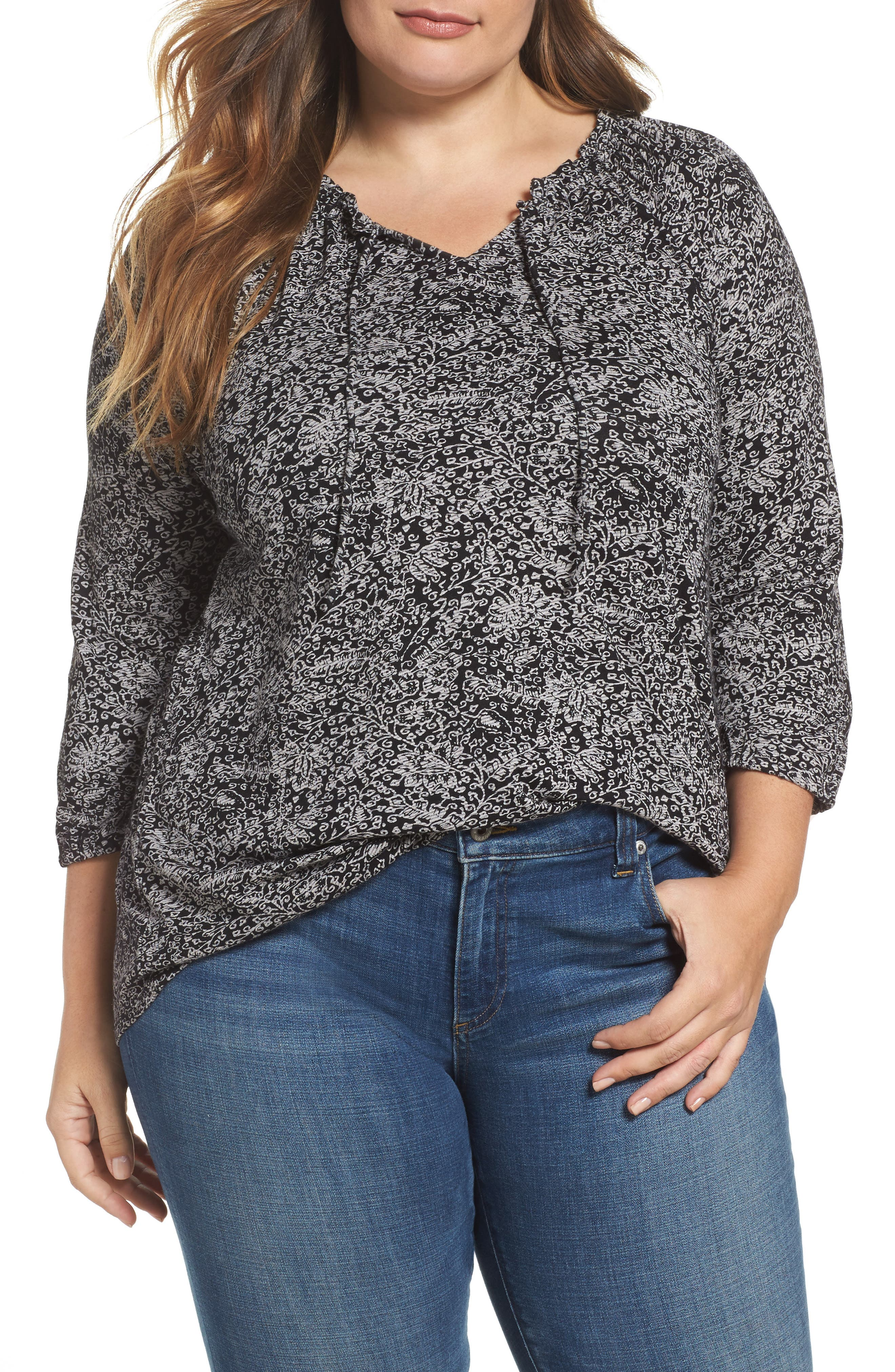 Lucky Brand Keyhole Print Peasant Top (Plus Size)
