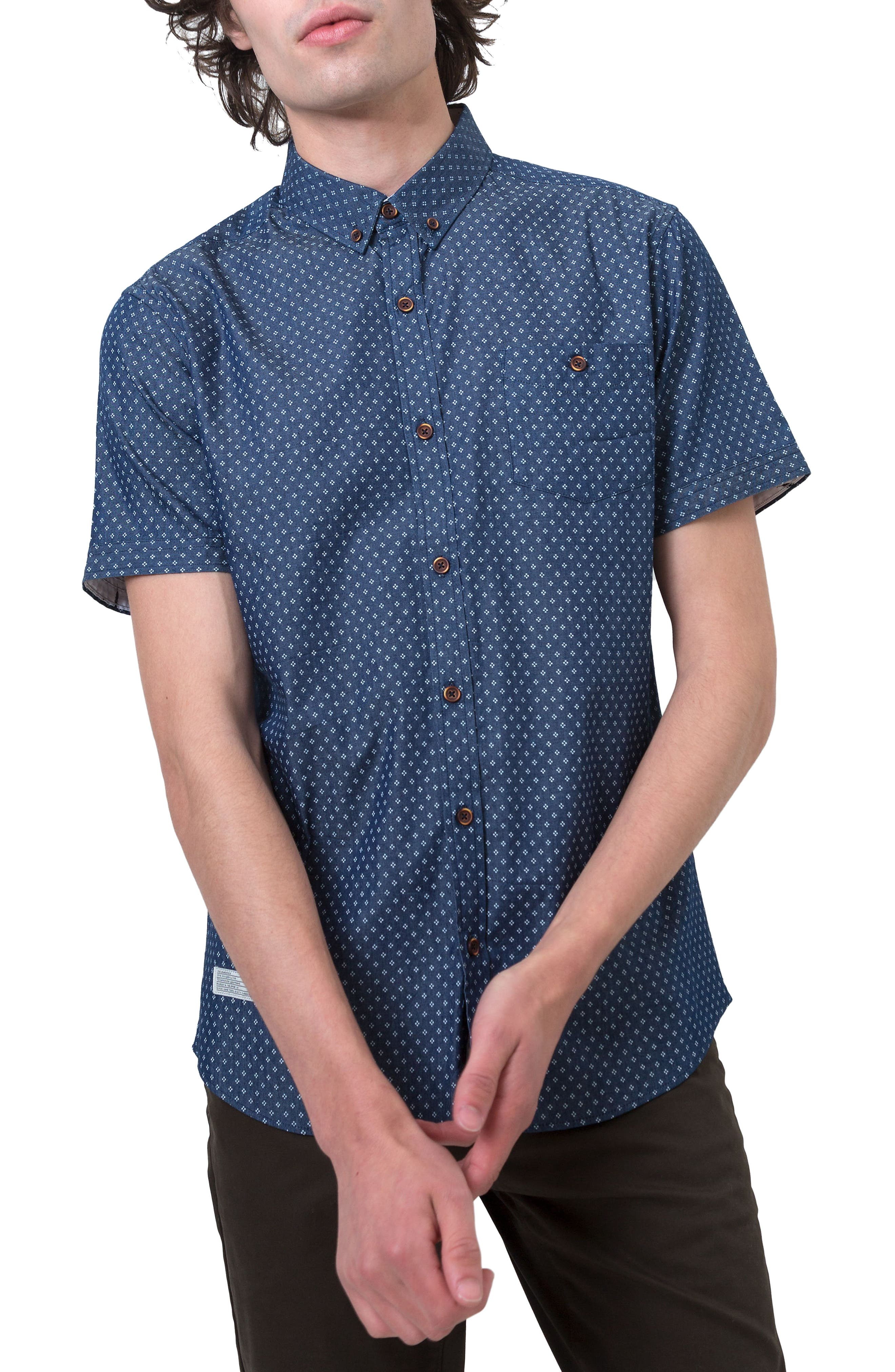 7 Diamonds Livewire Trim Fit Print Short Sleeve Woven Shirt