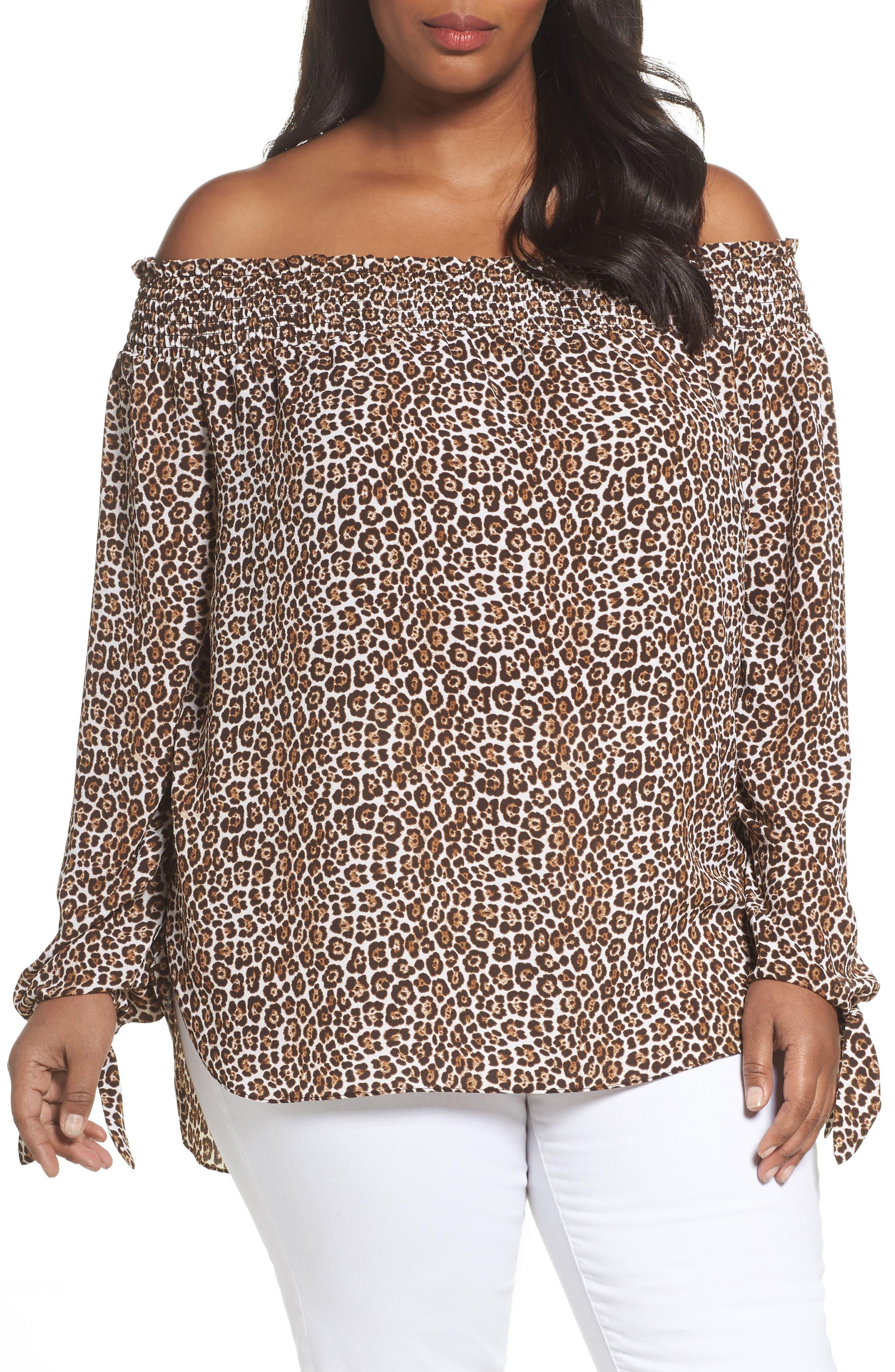 MICHAEL Michael Kors Off the Shoulder Leopard Print Top (Plus Size)