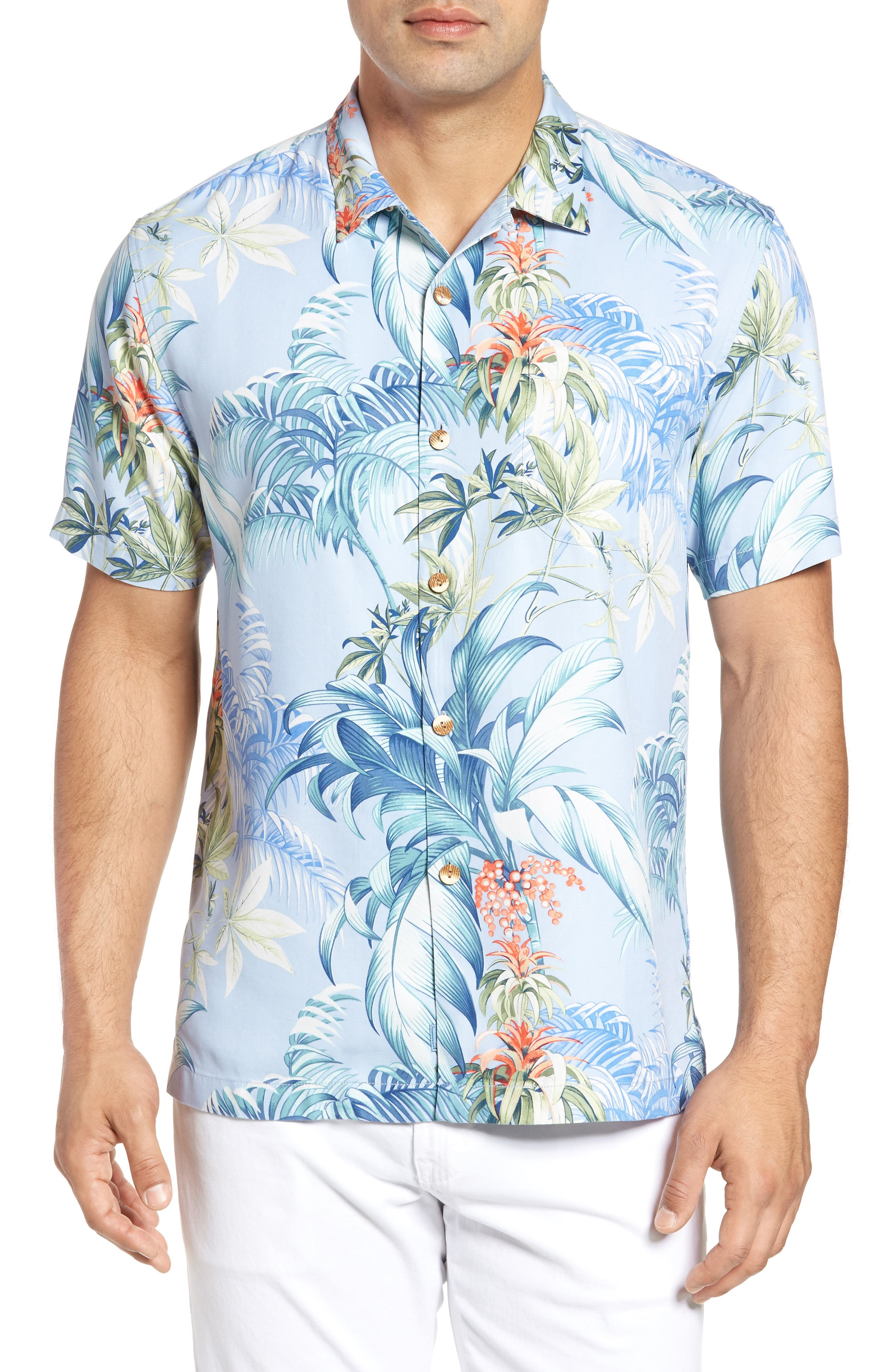 Tommy Bahama Tropical Falls Regular Fit Print Silk Camp Shirt