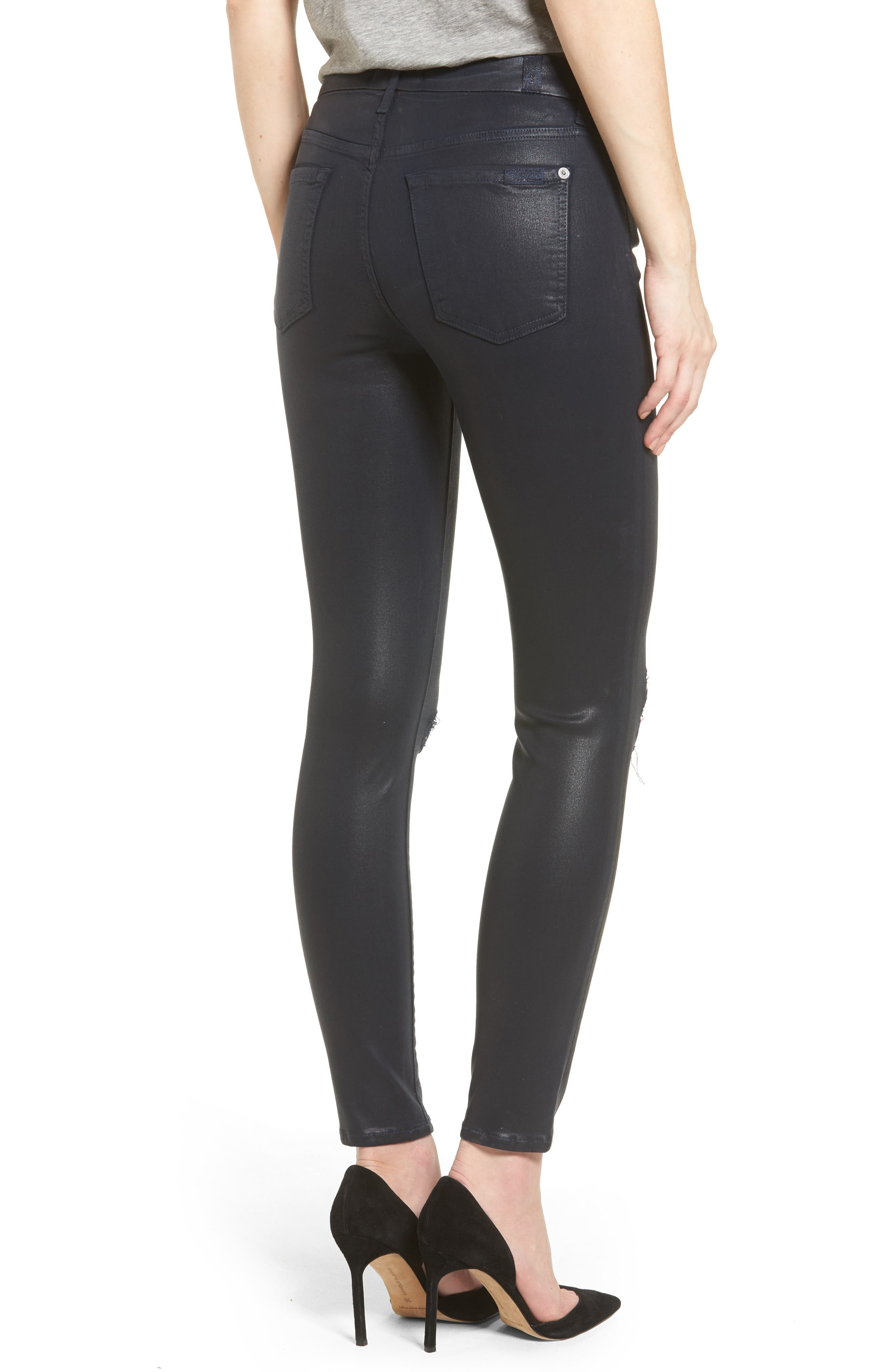 Alternate Image 2  - 7 For All Mankind® Coated Ankle Skinny Jeans