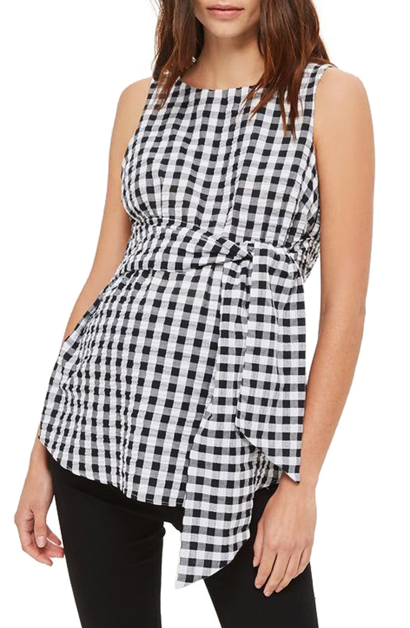 Topshop Gingham Tie Maternity Top