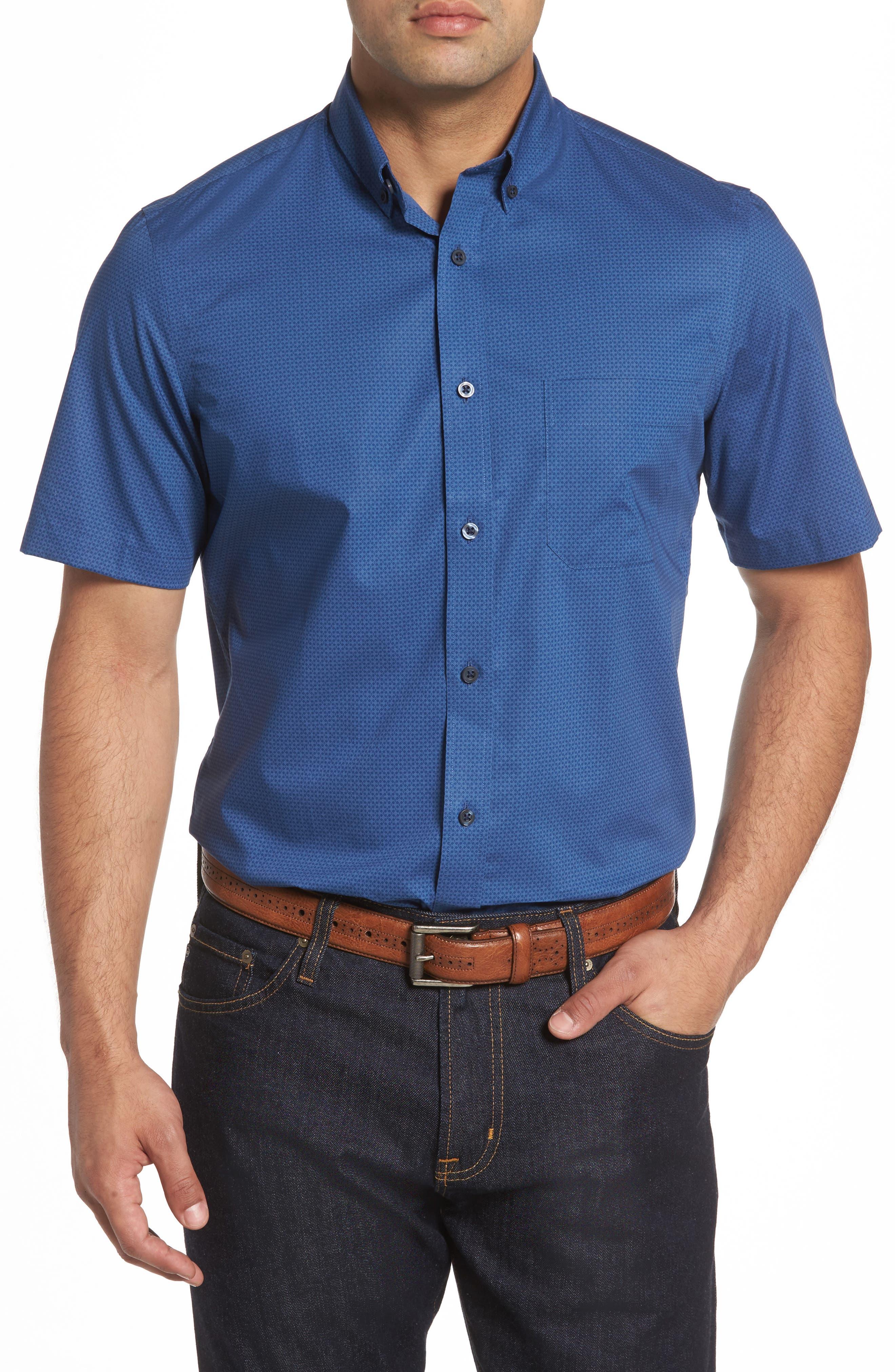 Nordstrom Men's Shop Regular Fit Non-Iron Print Sport Shirt (Big & Tall)