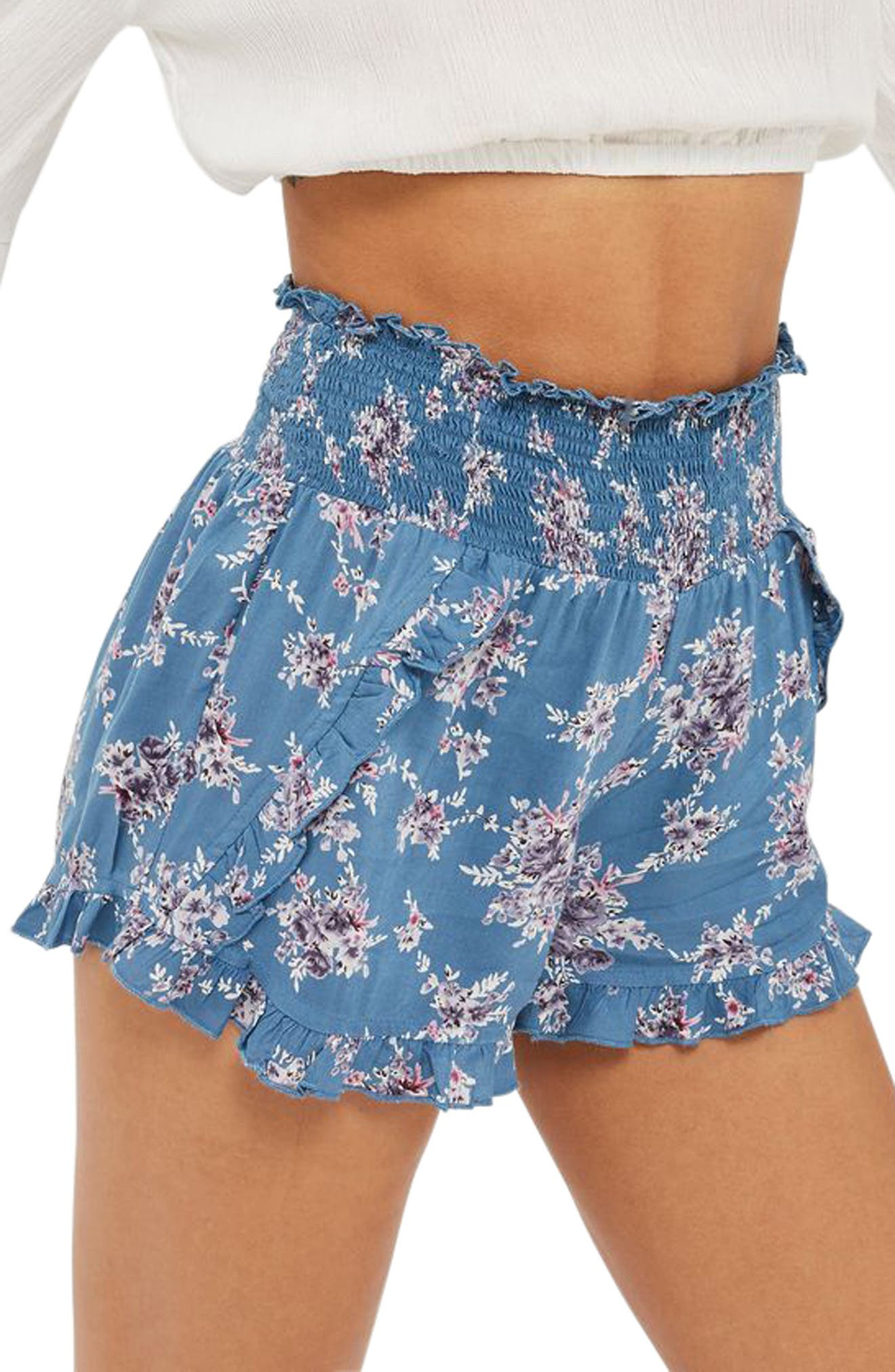 Topshop Blue Floral Ruffle Shorts
