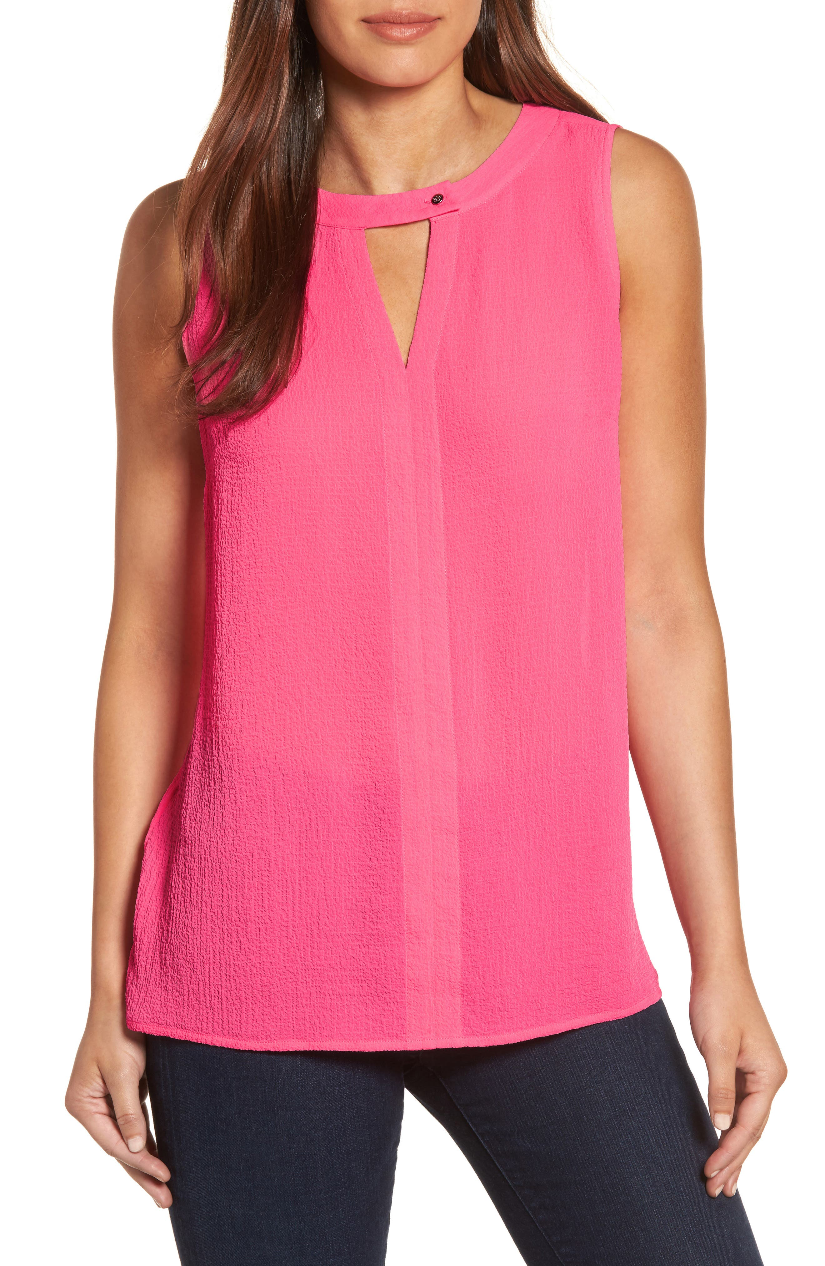 Chaus Keyhole Textured Blouse