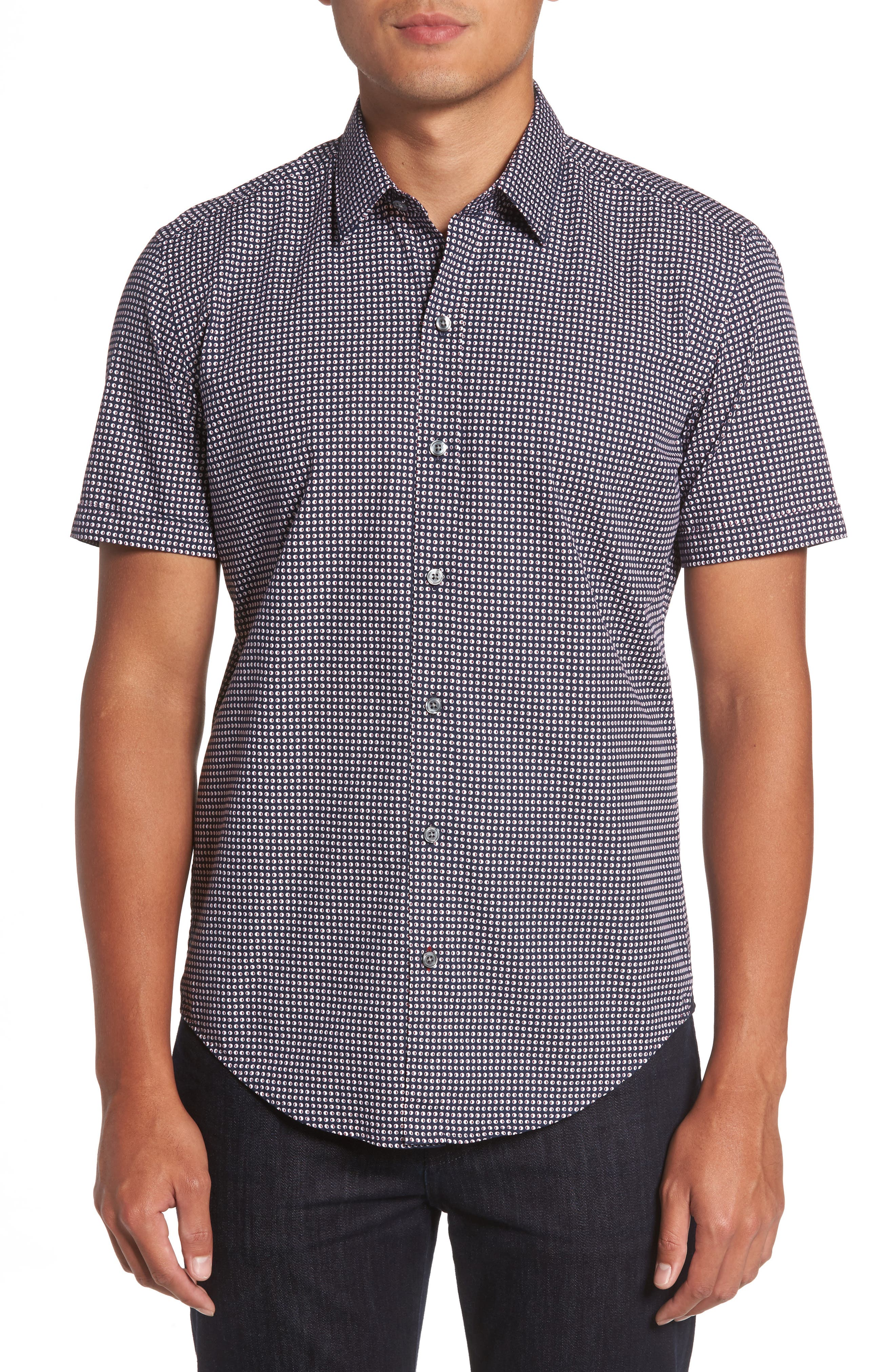 BOSS Robb Sharp Fit Micro Print Sport Shirt