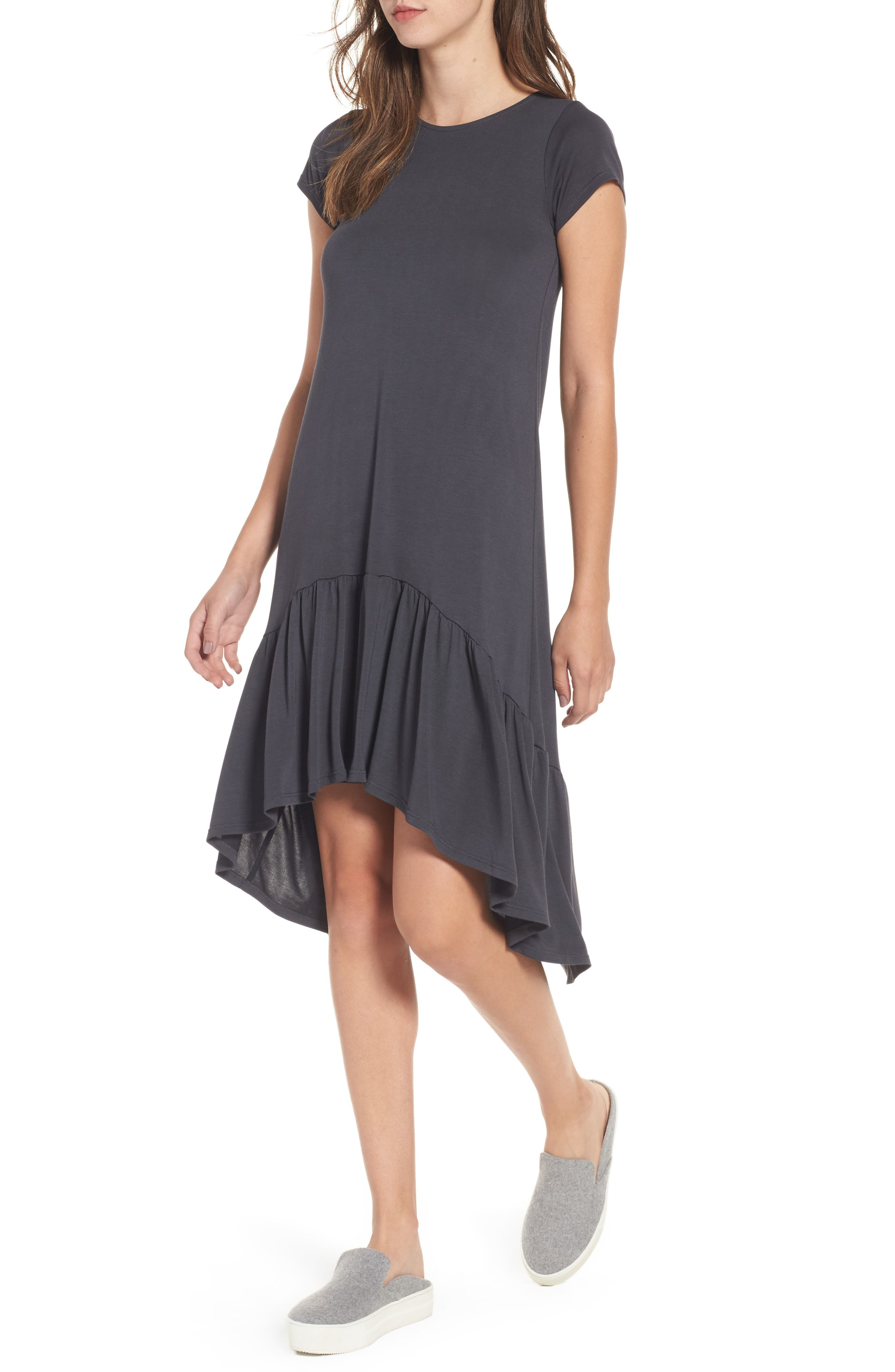 Cotton Emporium Ruffle Hem Knit T-Shirt Dress