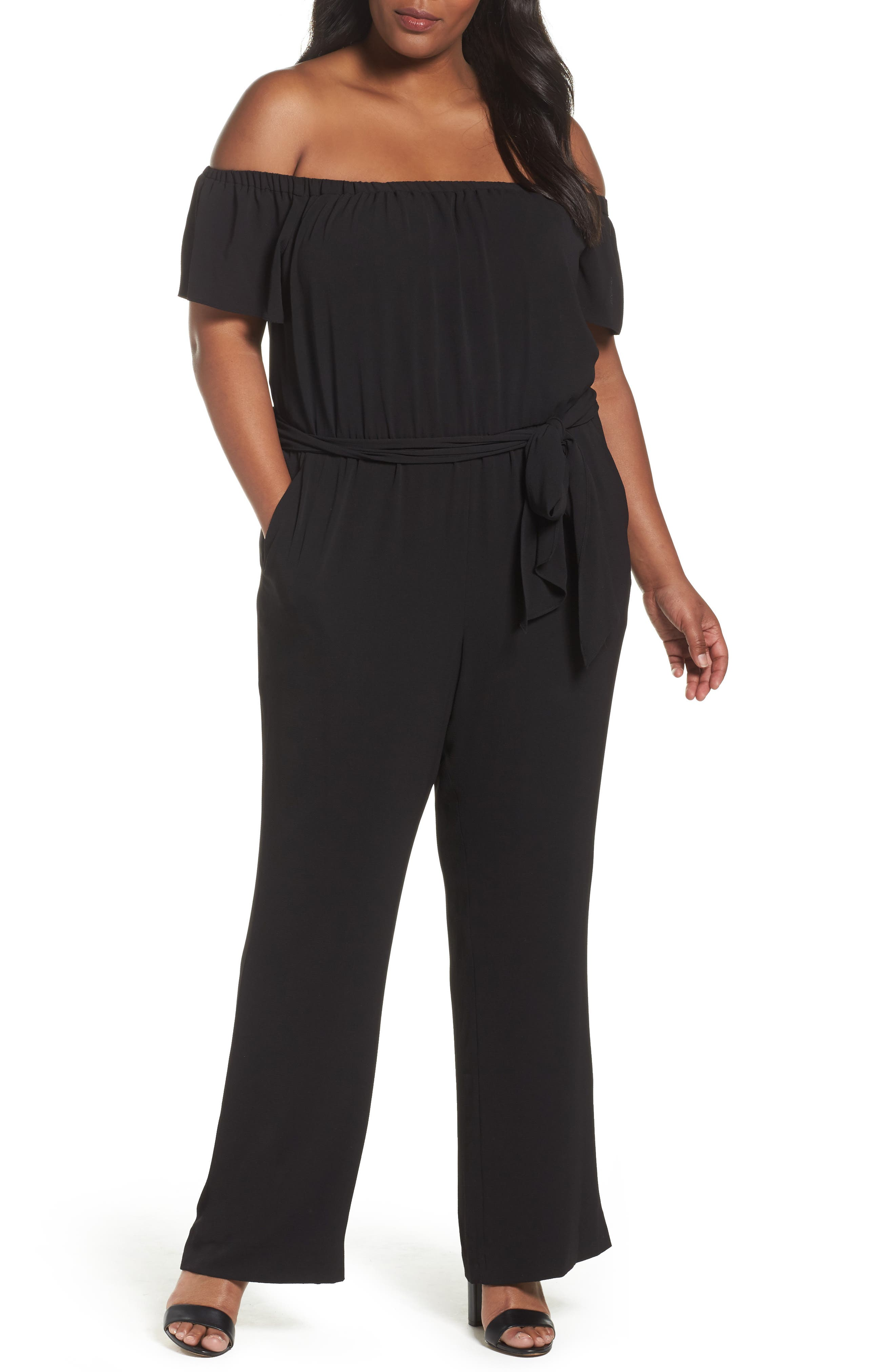 Tahari Off the Shoulder Jumpsuit (Plus Size)