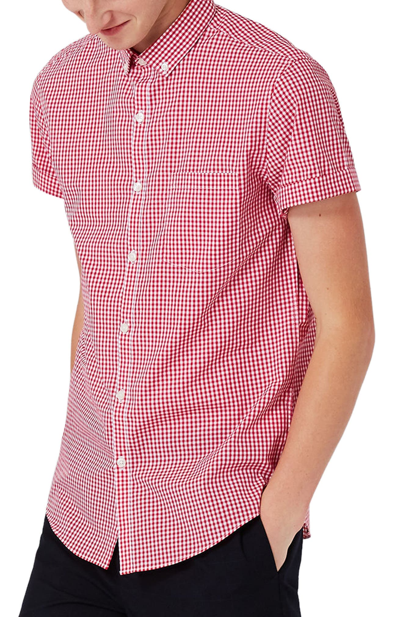 Topman Slim Fit Gingham Smart Shirt