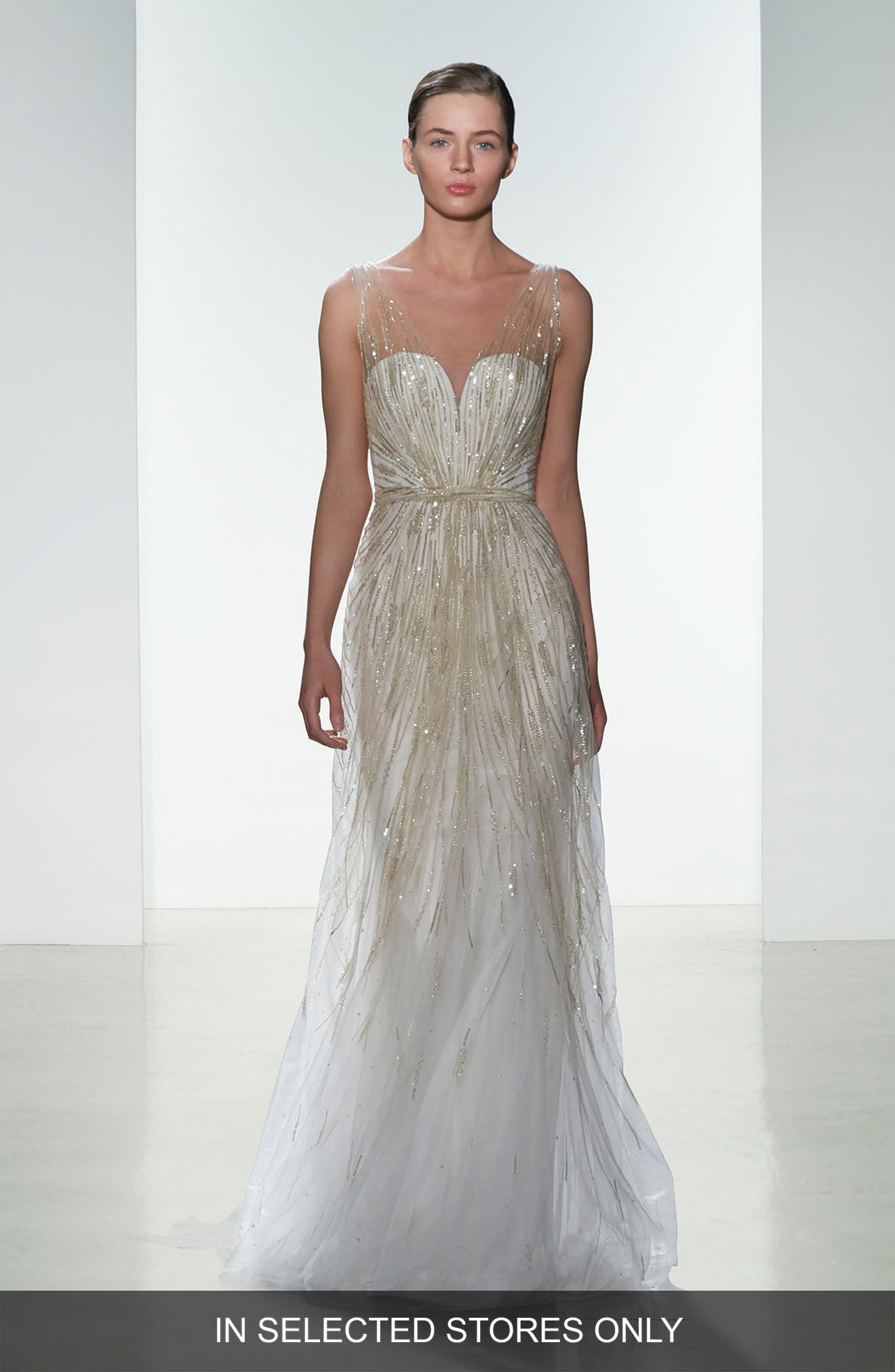 Amsale 'Talia' Hand Beaded Low V-Neck Gown (In Stores Only)