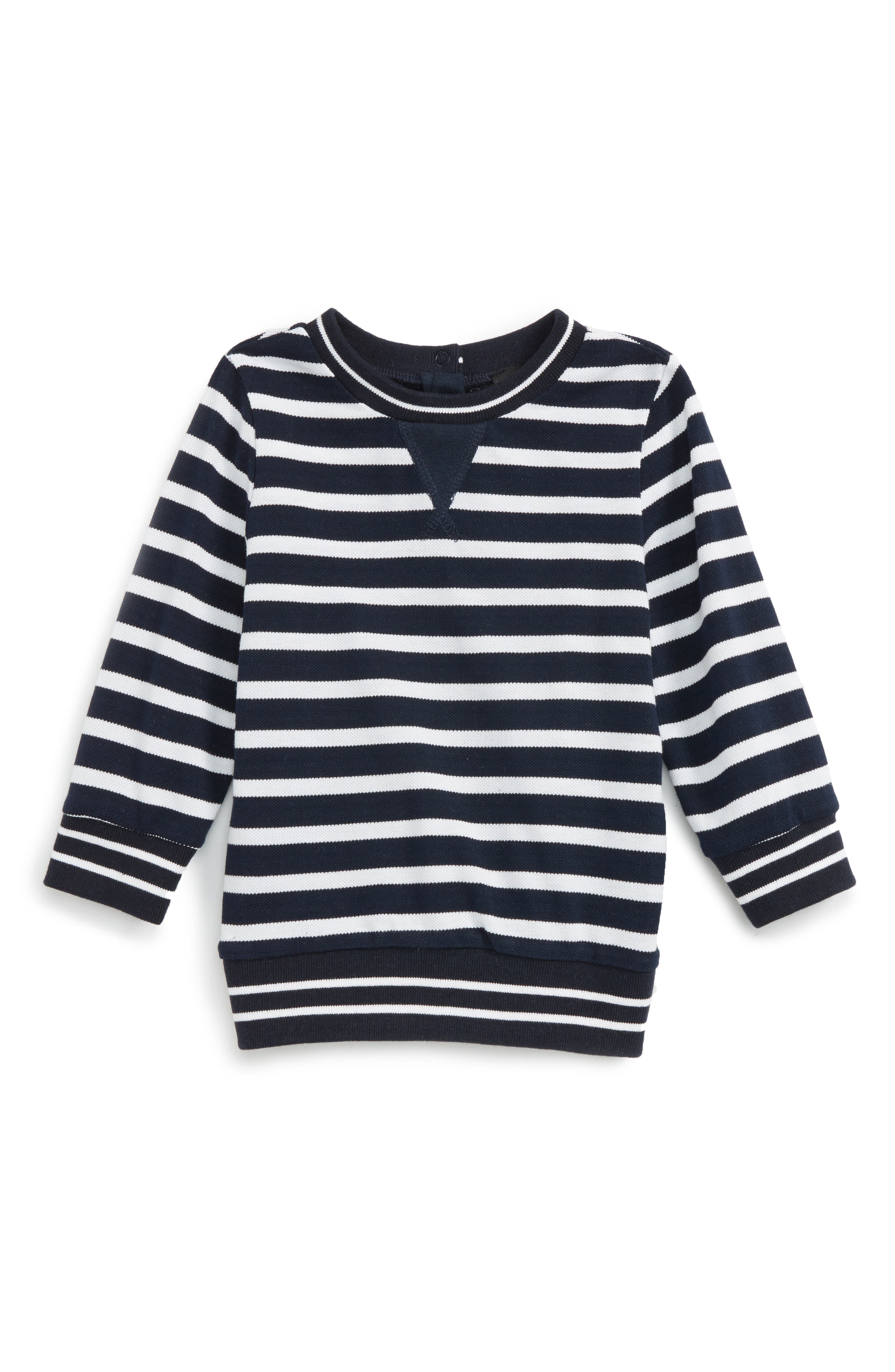 Bardot Junior Stripe Piqué Sweater (Baby Boys & Toddler Boys)