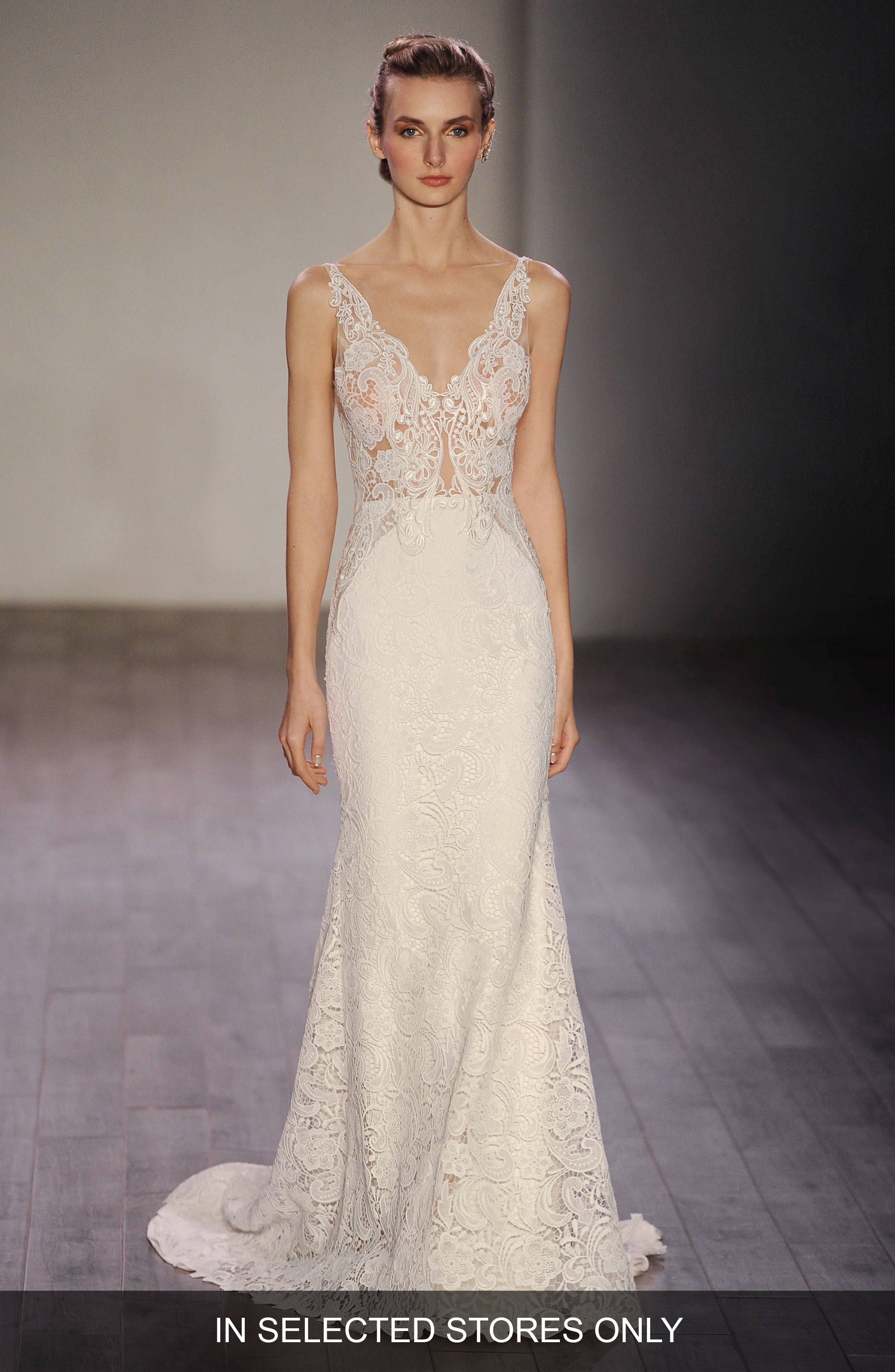 Lazaro V-Neck Lace Trumpet Dress (In Stores Only)