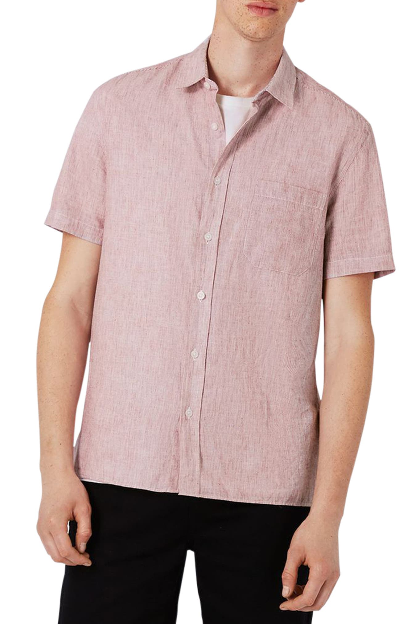 Topman Slim Fit Cotton & Linen Woven Shirt