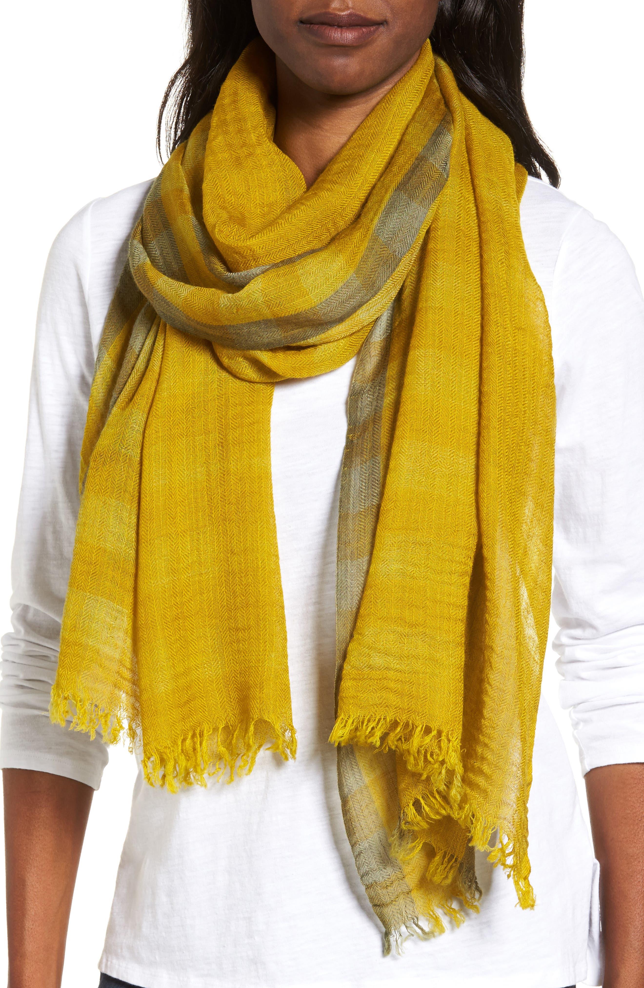 Eileen Fisher Plaid Wool Scarf