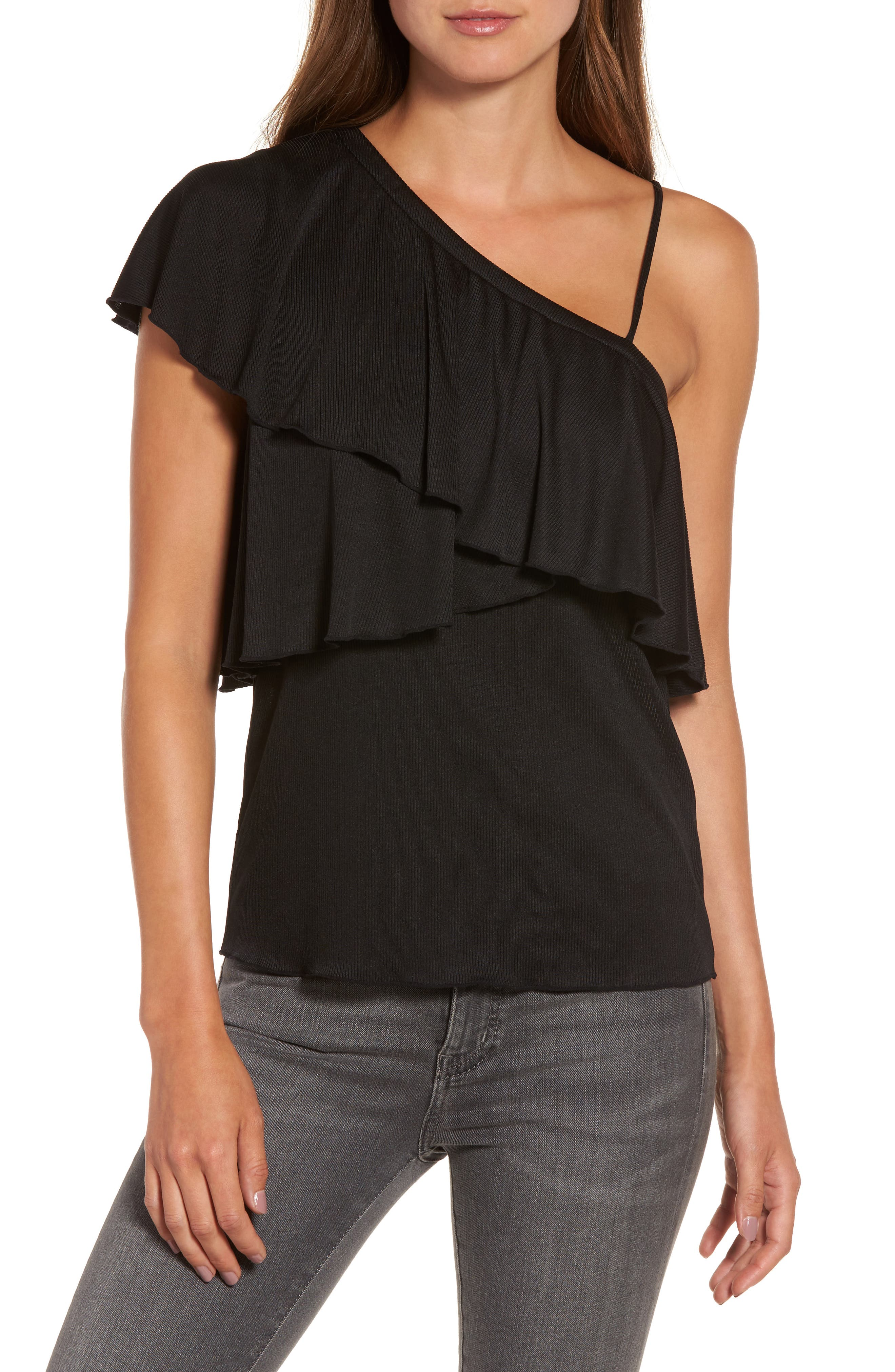 Chelsea28 One-Shoulder Ruffle Top