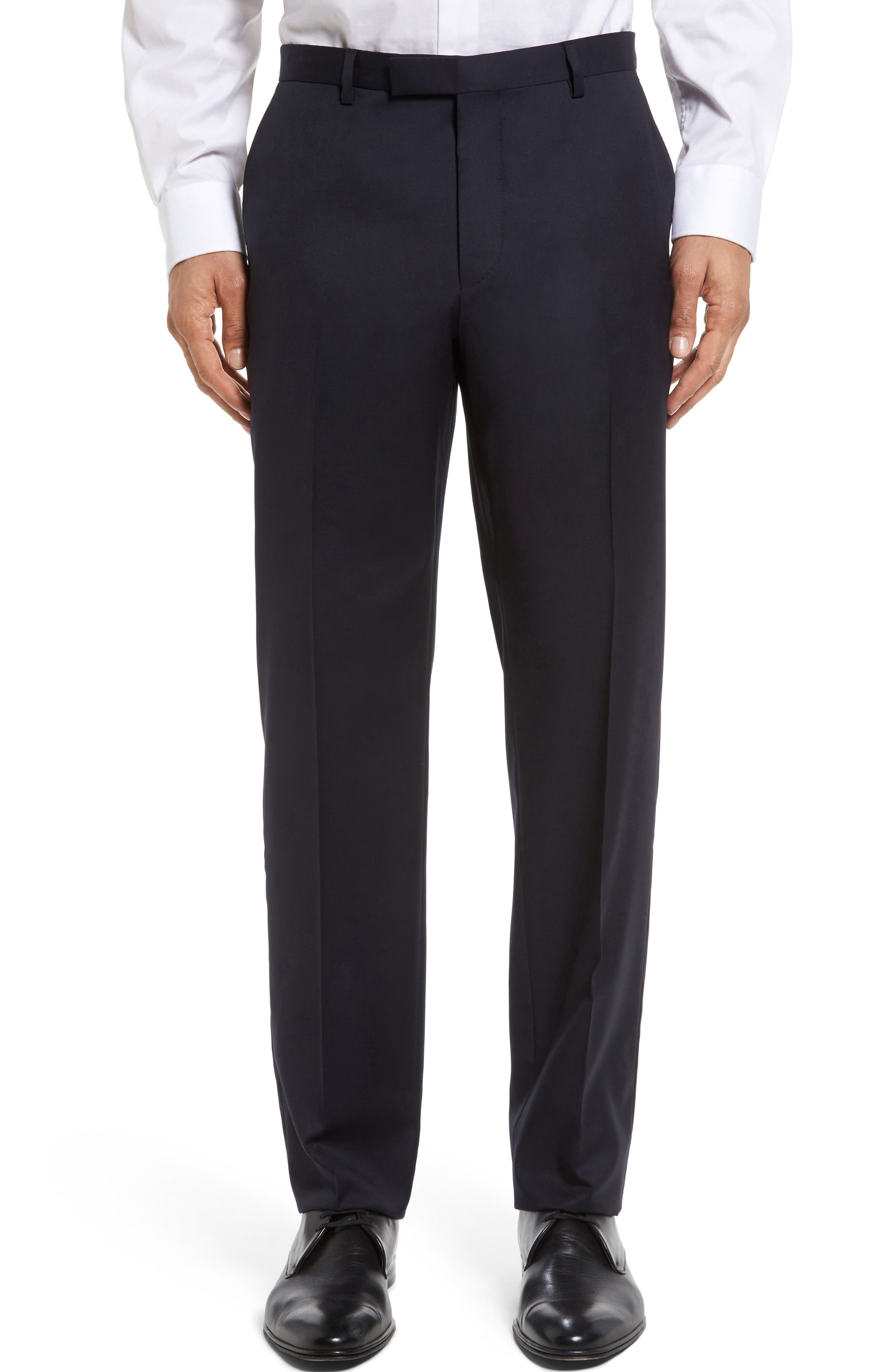 BOSS Leenon Flat Front Solid Wool Trousers
