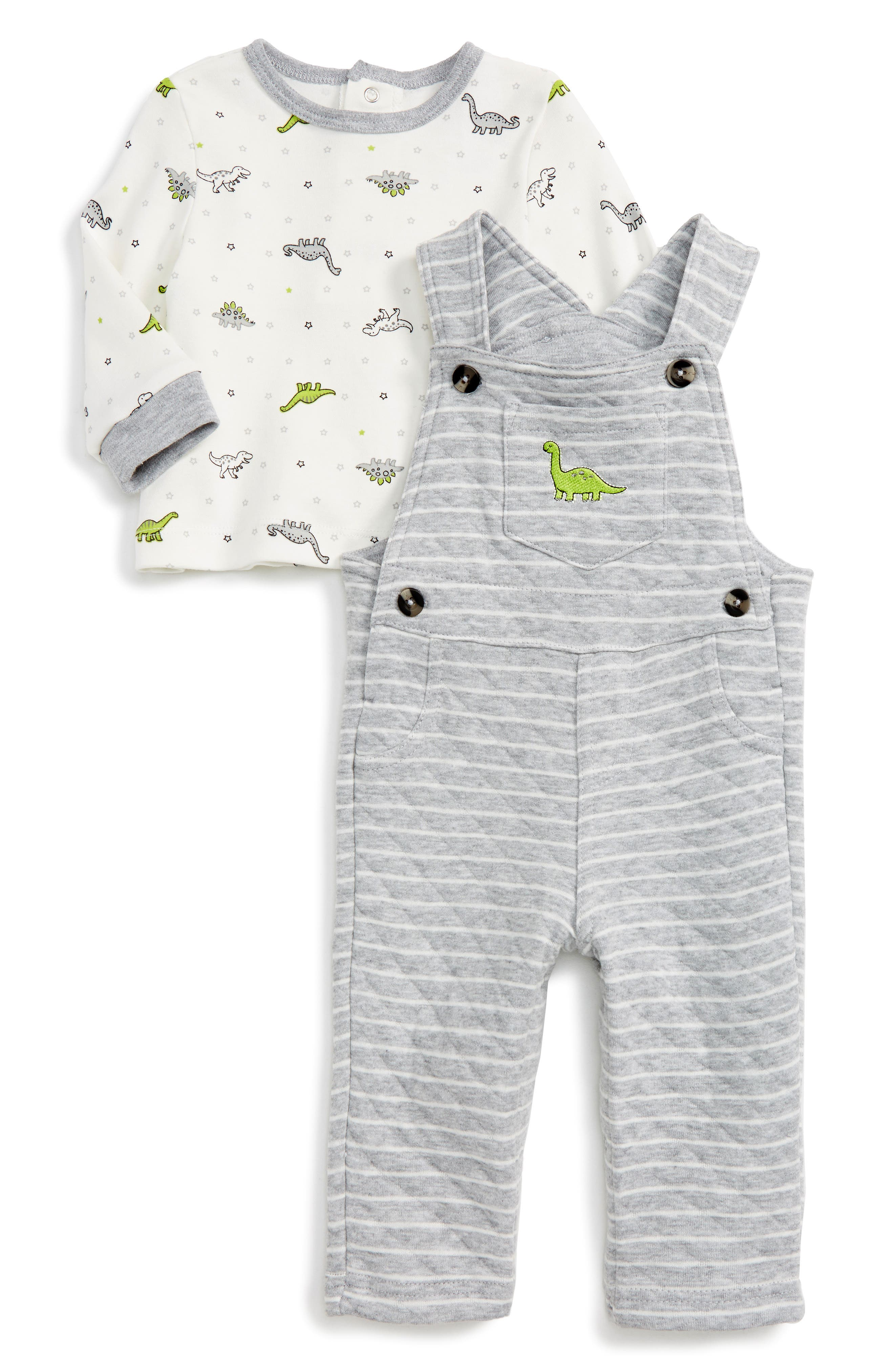 Little Me Dino Overalls & T-Shirt Set (Baby Boys)