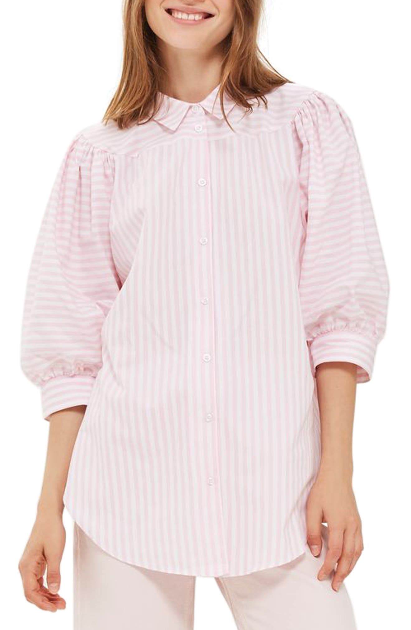 Topshop Stripe Puff Sleeve Shirt