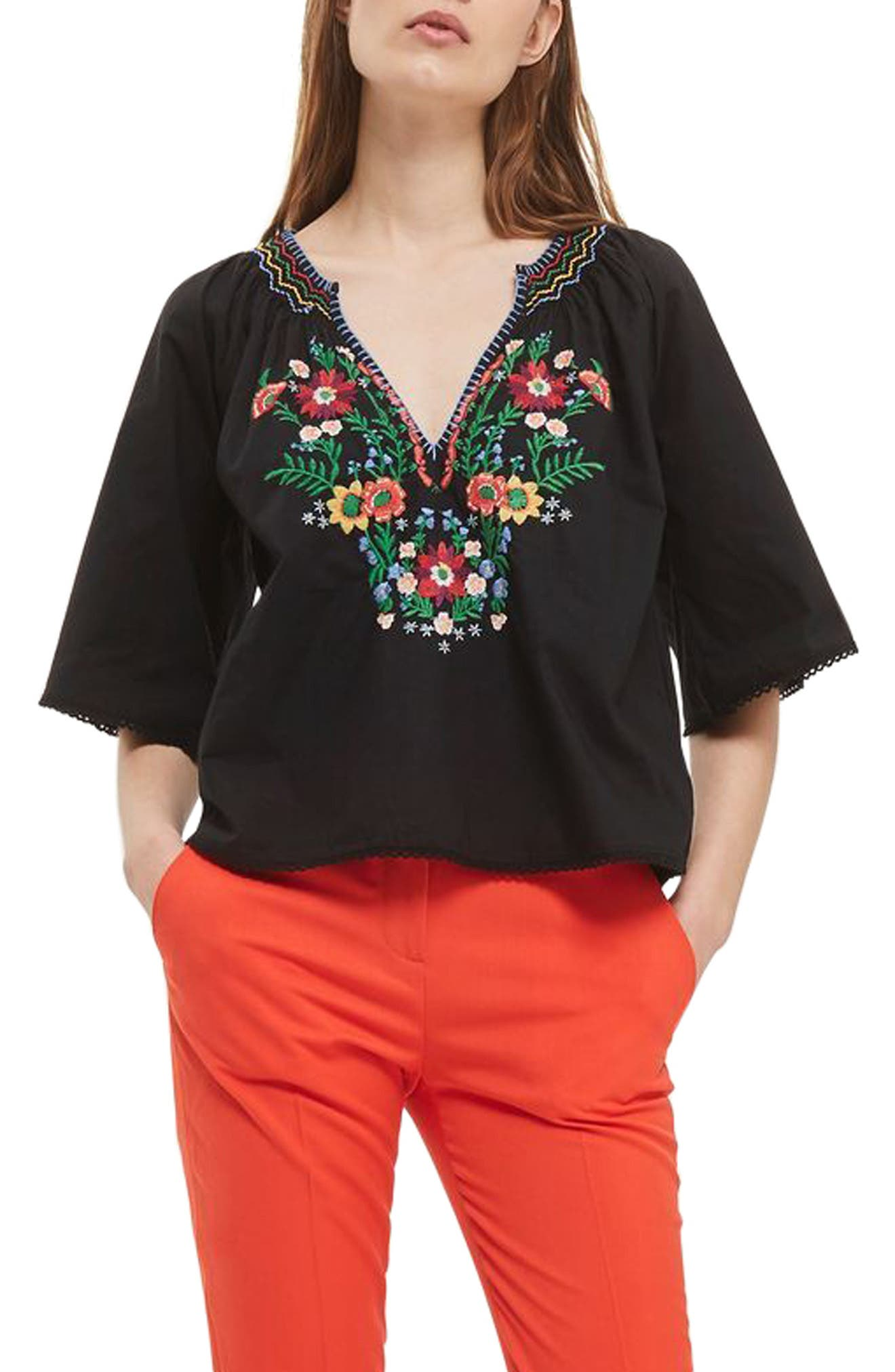 Topshop Embroidered Floral Top