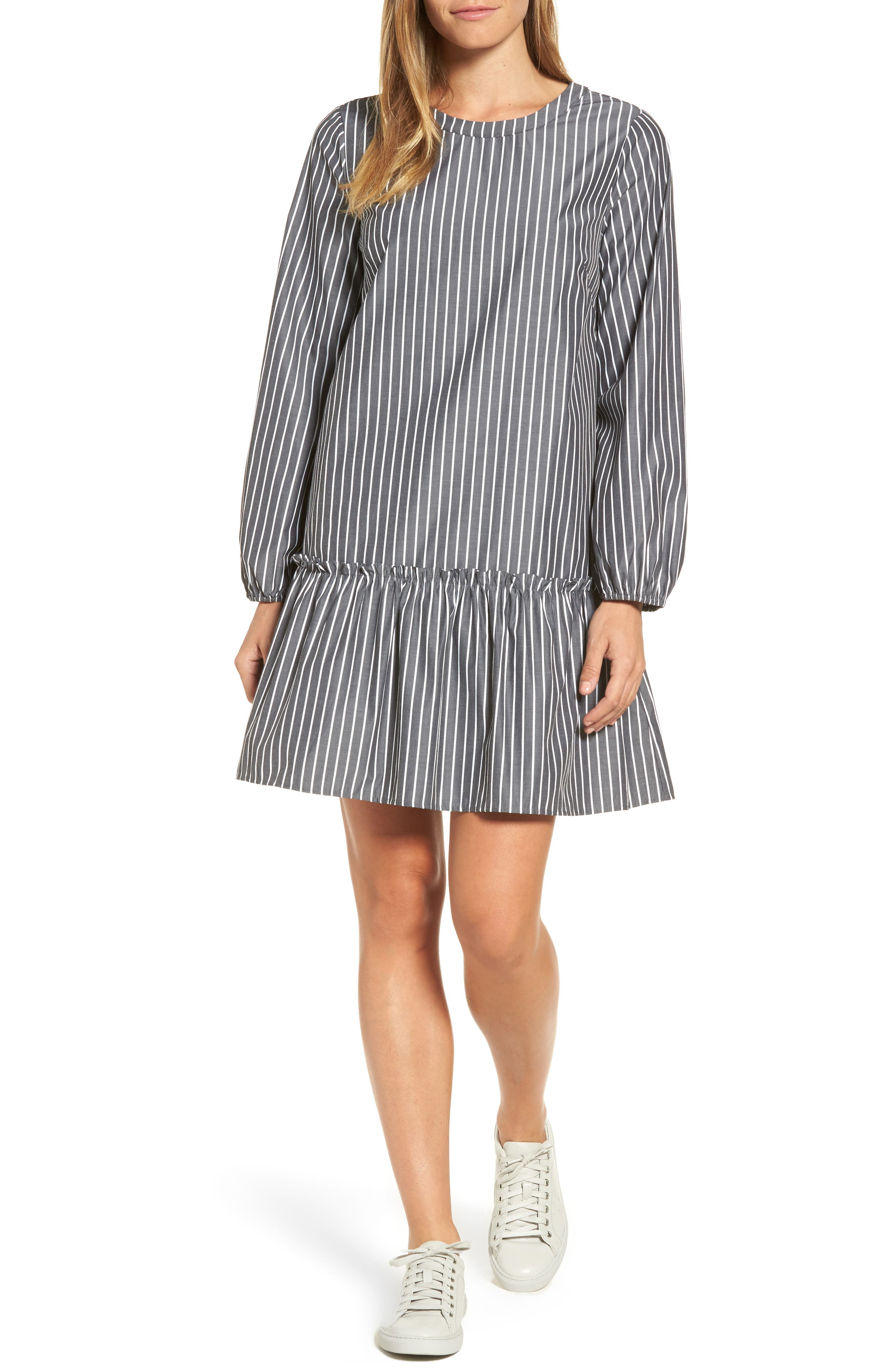 Pleione Stripe Poplin Drop Waist Dress
