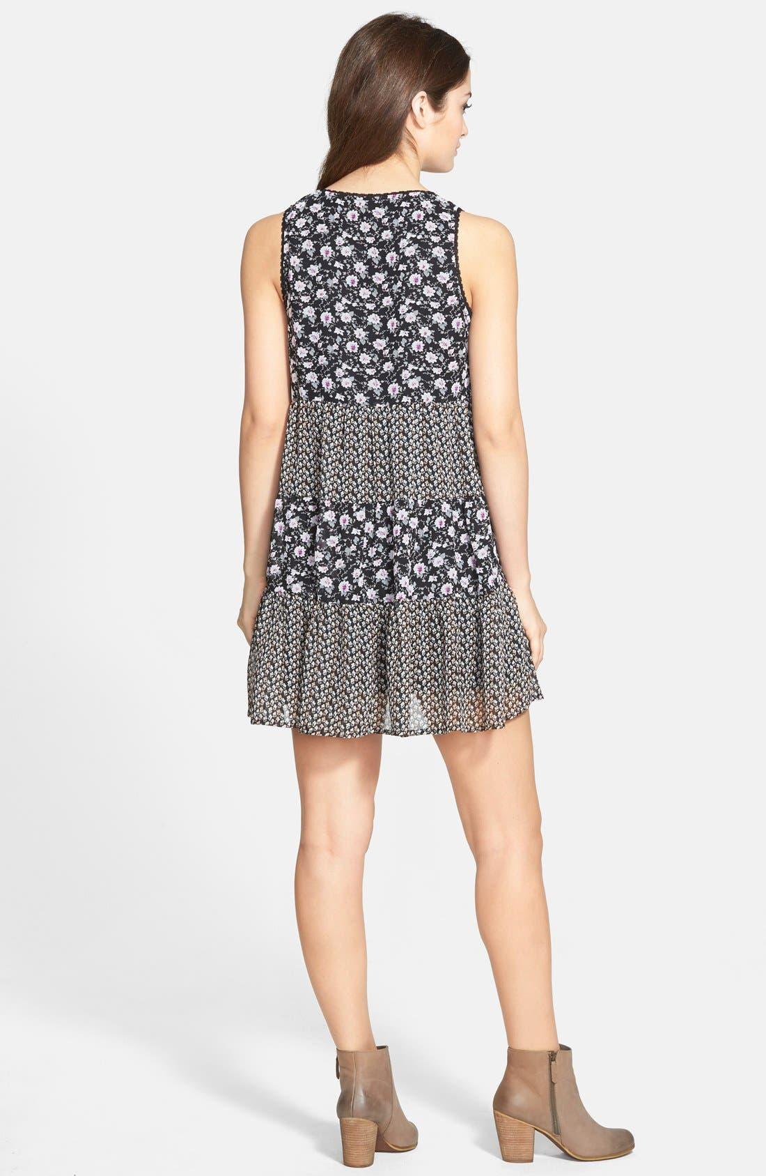 Alternate Image 2  - Paper Crane Mixed Print Babydoll Dress (Juniors)