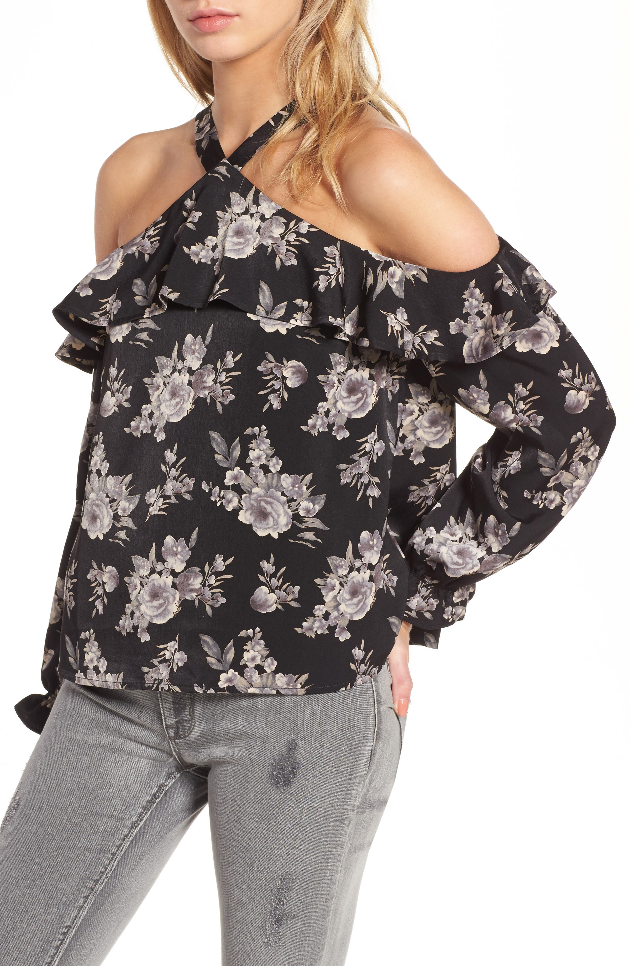 J.O.A. Ruffle Cold Shoulder Top