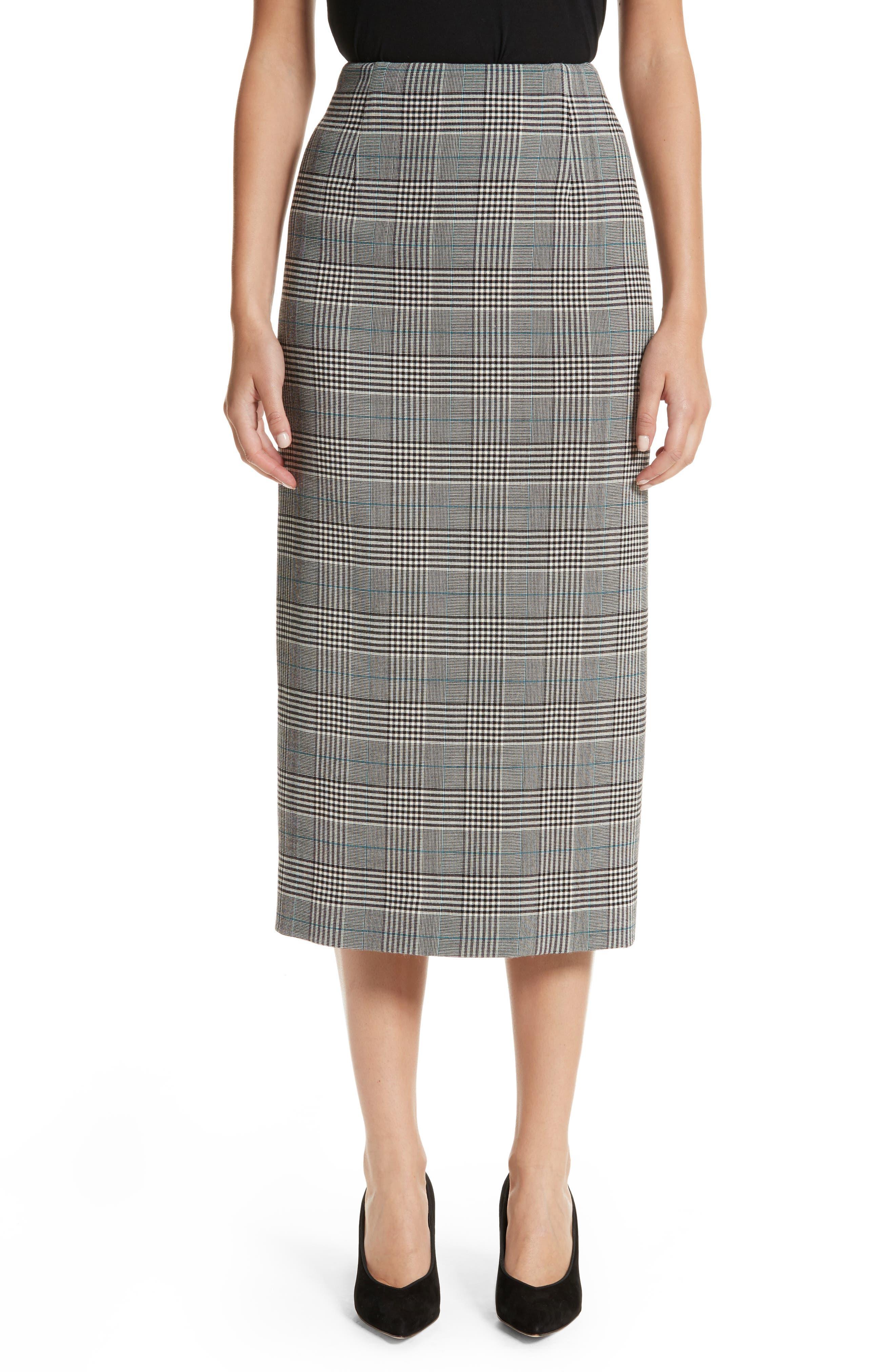 Victoria Beckham Prince of Wales High Waist Pencil Skirt
