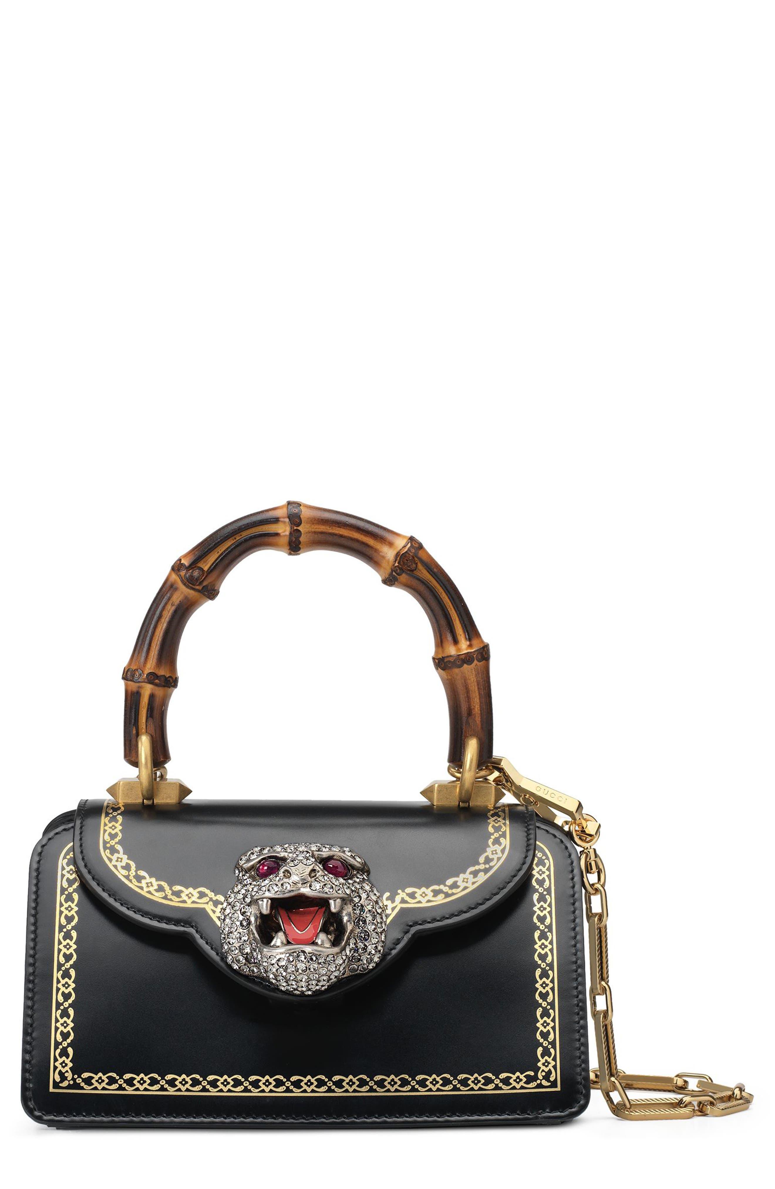 Gucci Mini Gatto Top Handle Leather Satchel