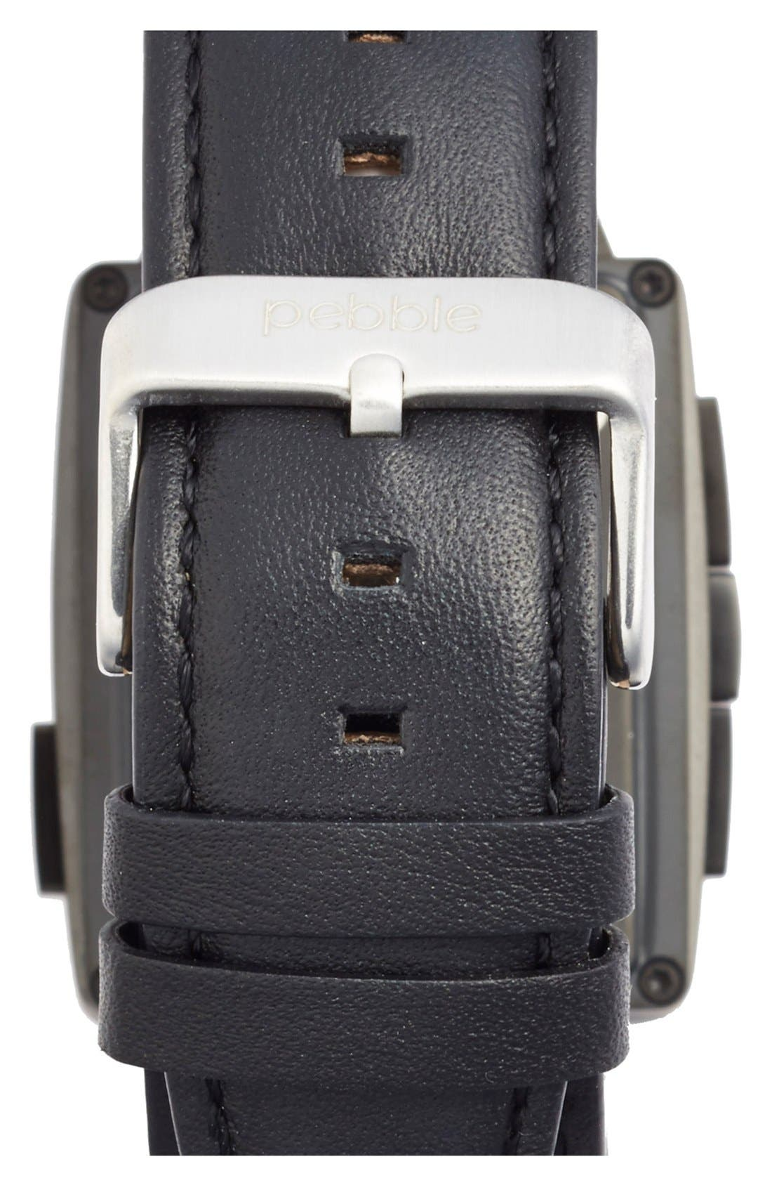 Alternate Image 2  - Pebble Rectangular Leather Strap Smart Watch, 43mm