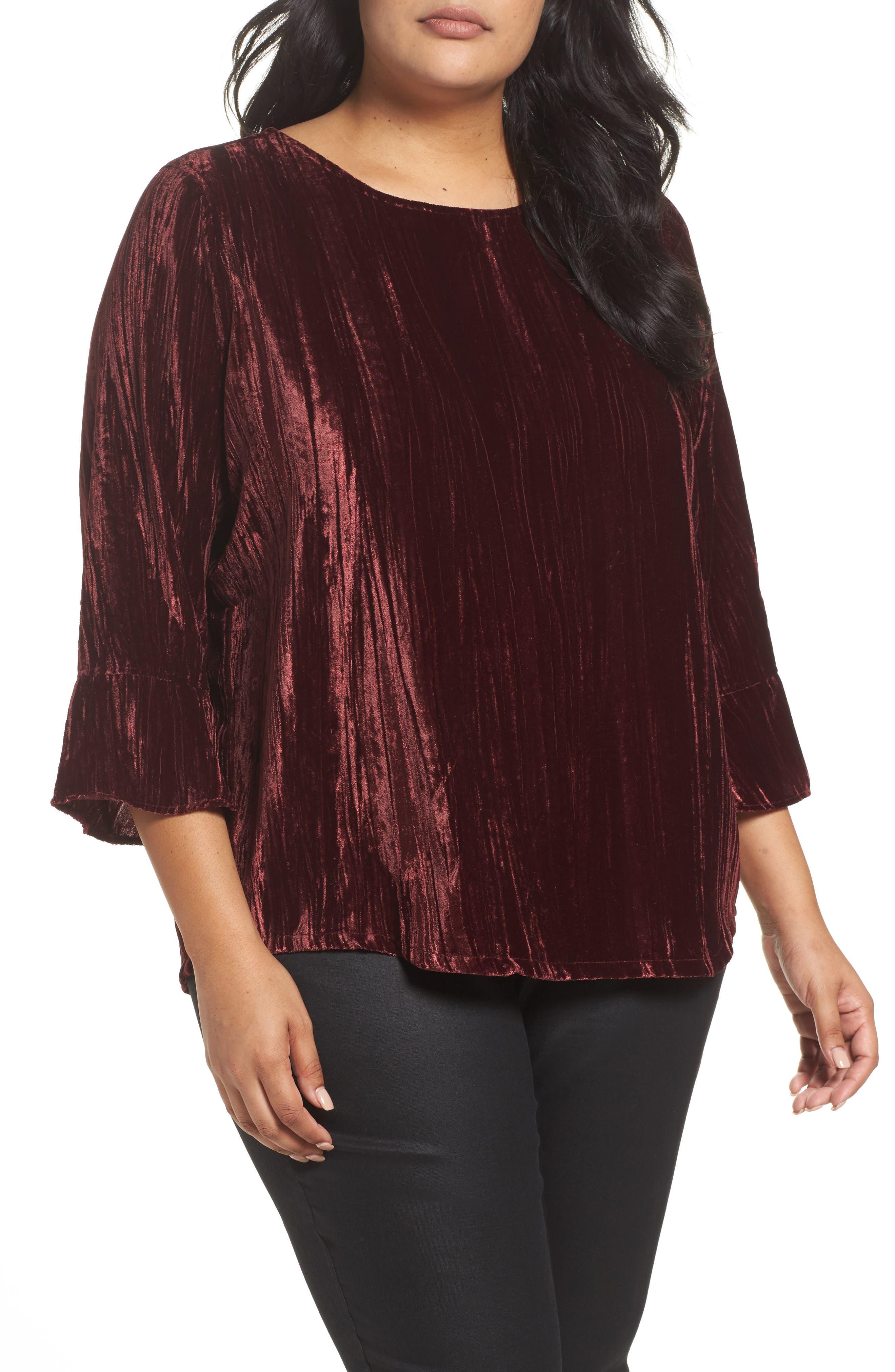 Foxcroft Korin Crinkled Velvet Top (Plus Size)