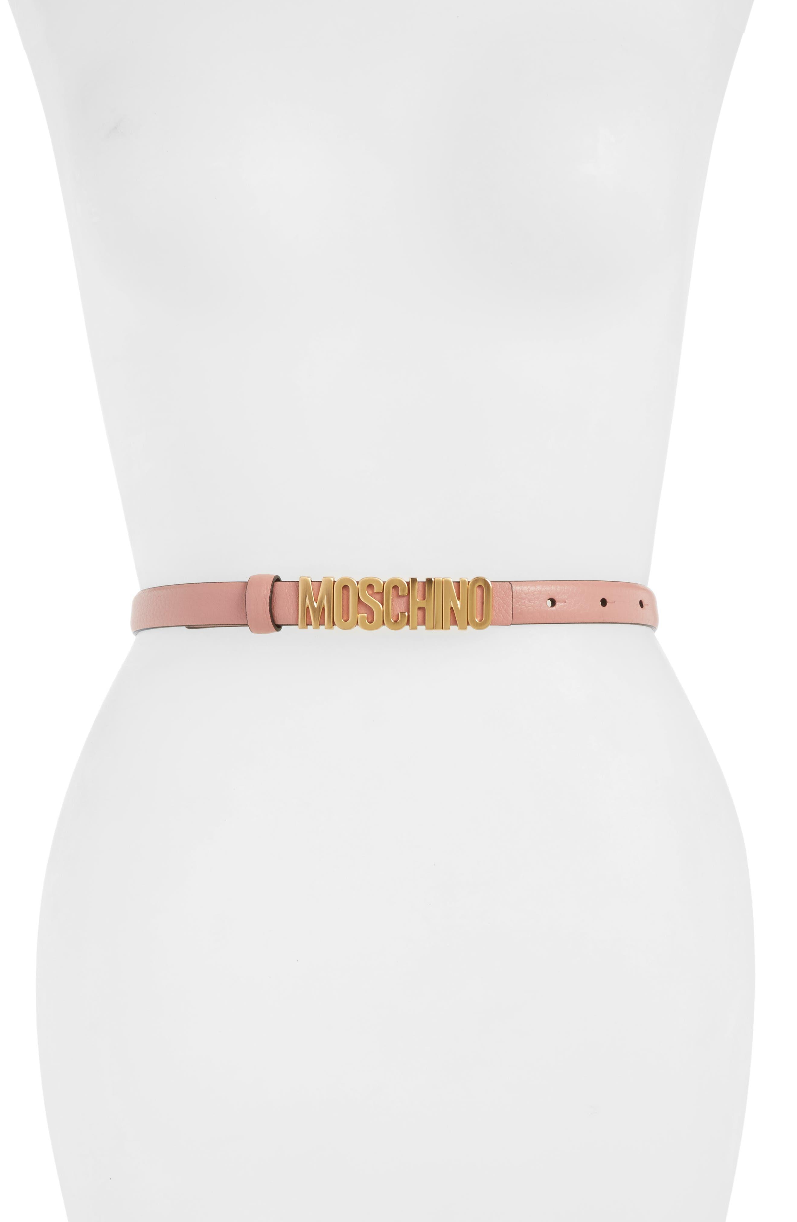 Moschino Logo Plate Skinny Leather Belt