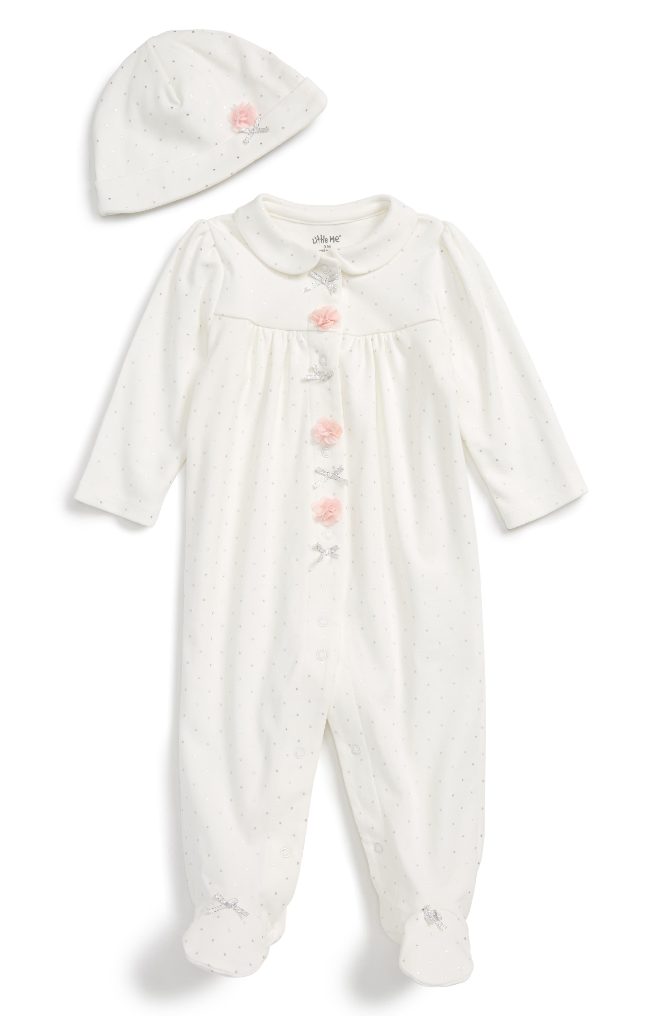 Little Me Footie & Hat Set (Baby Girls)