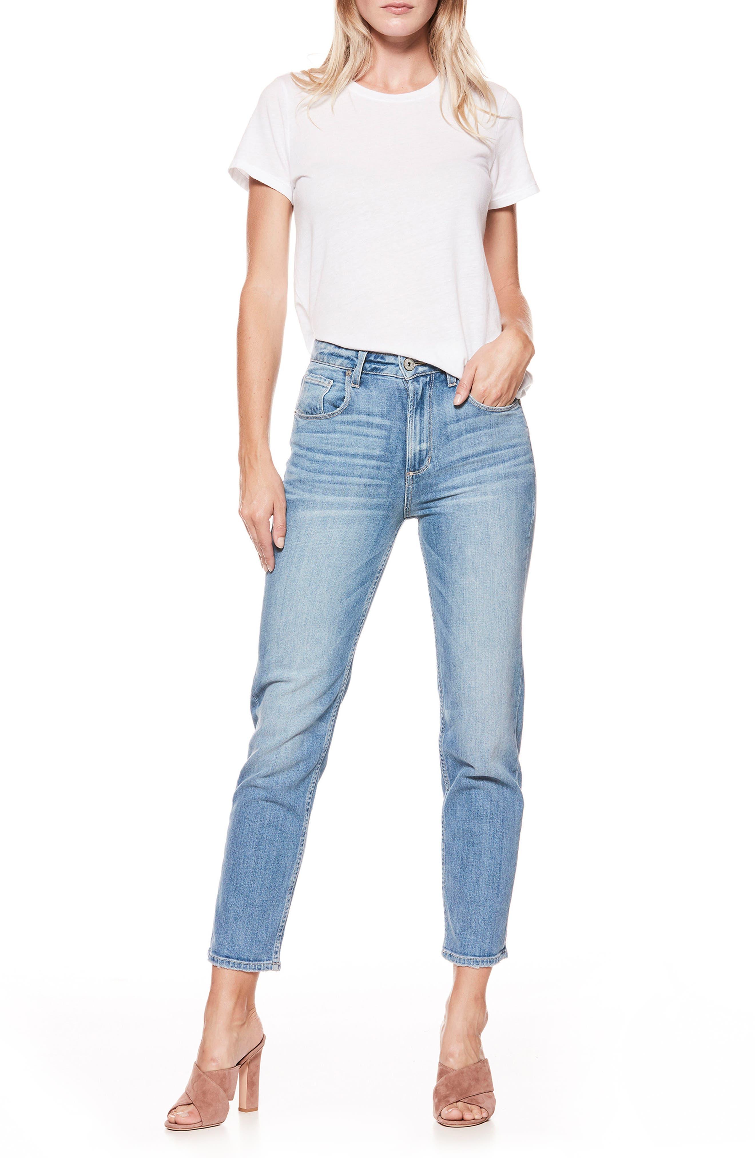 PAIGE Sarah High Waist Crop Straight Leg Jeans (Serafina)