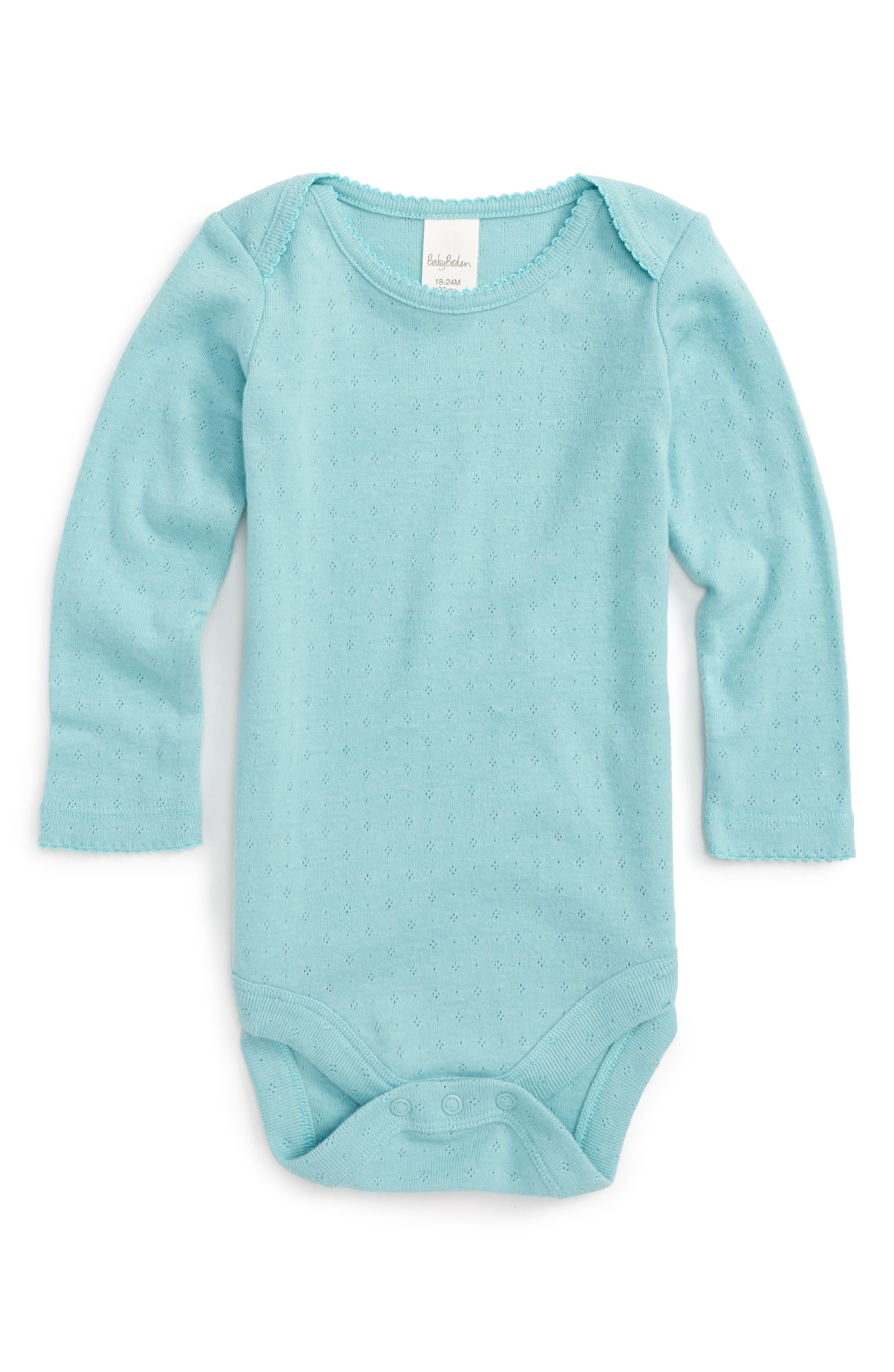 Mini Boden Supersoft Pointelle Bodysuit (Baby Girls)