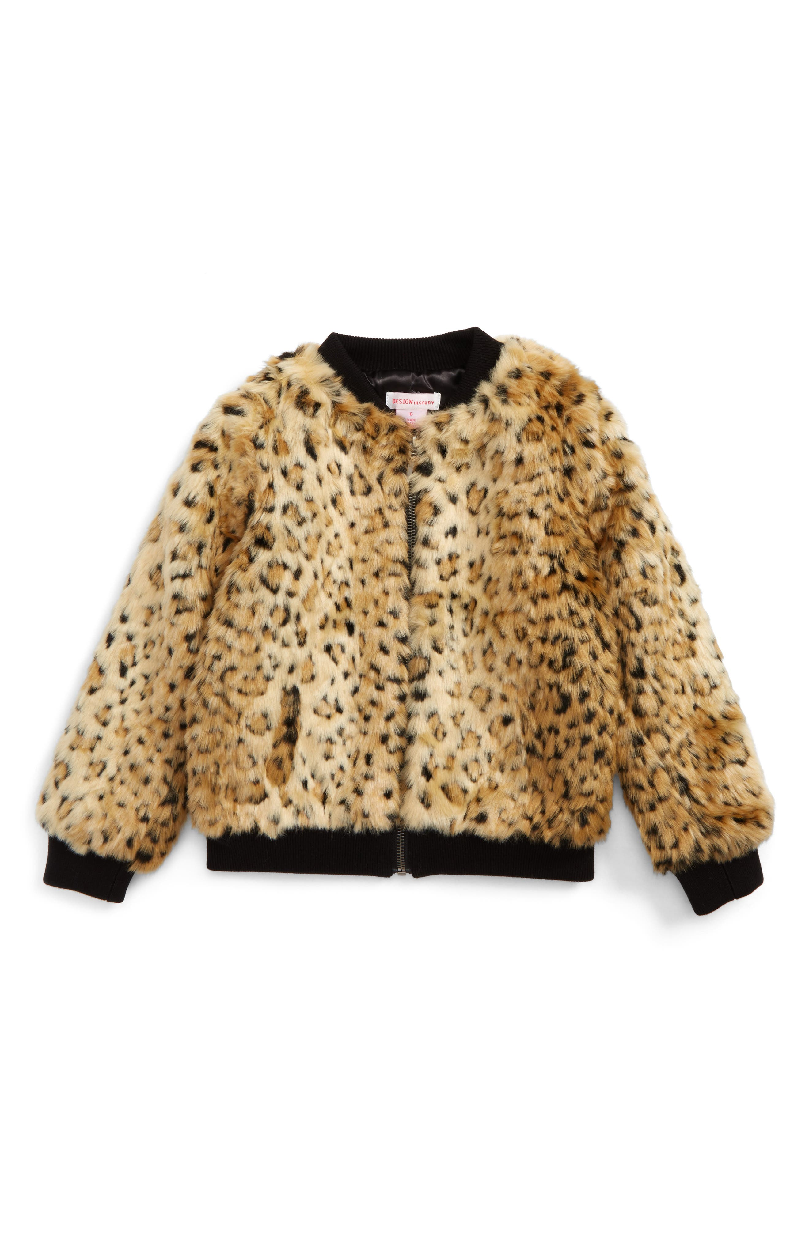 Design History Faux Fur Bomber Jacket (Toddler Girls & Little Girls)