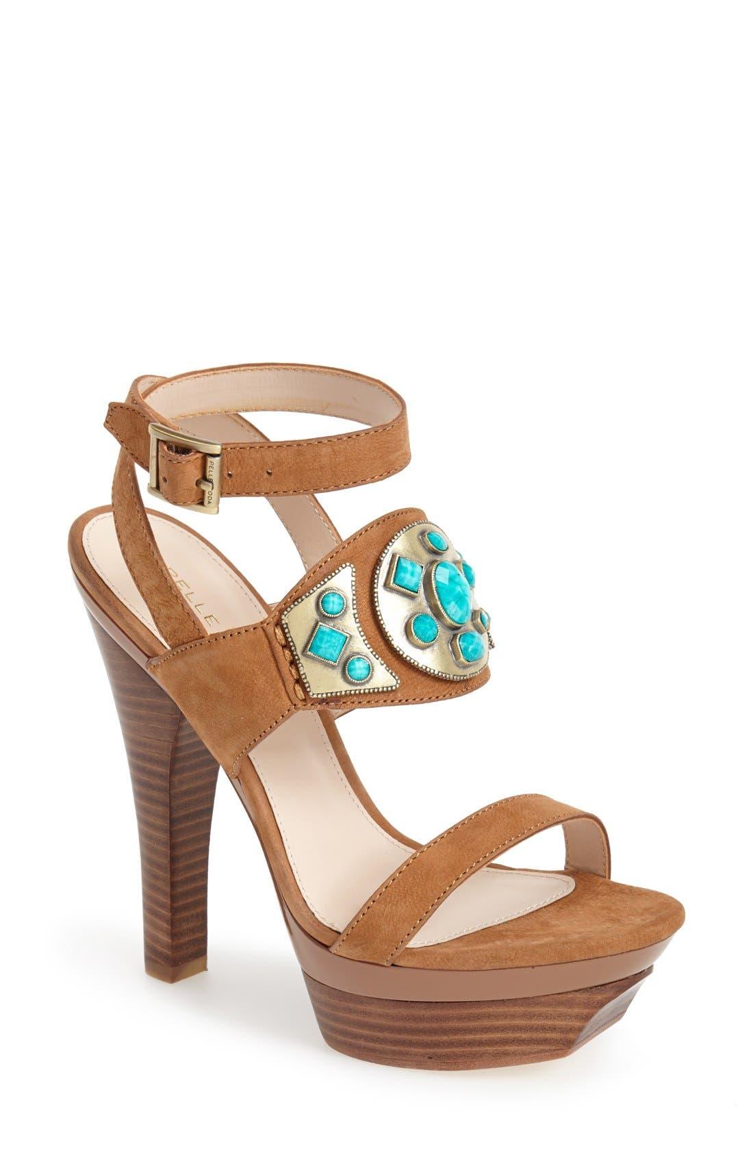 Main Image - Pelle Moda 'Cian' Jeweled Leather Ankle Strap Platform Sandal (Women)