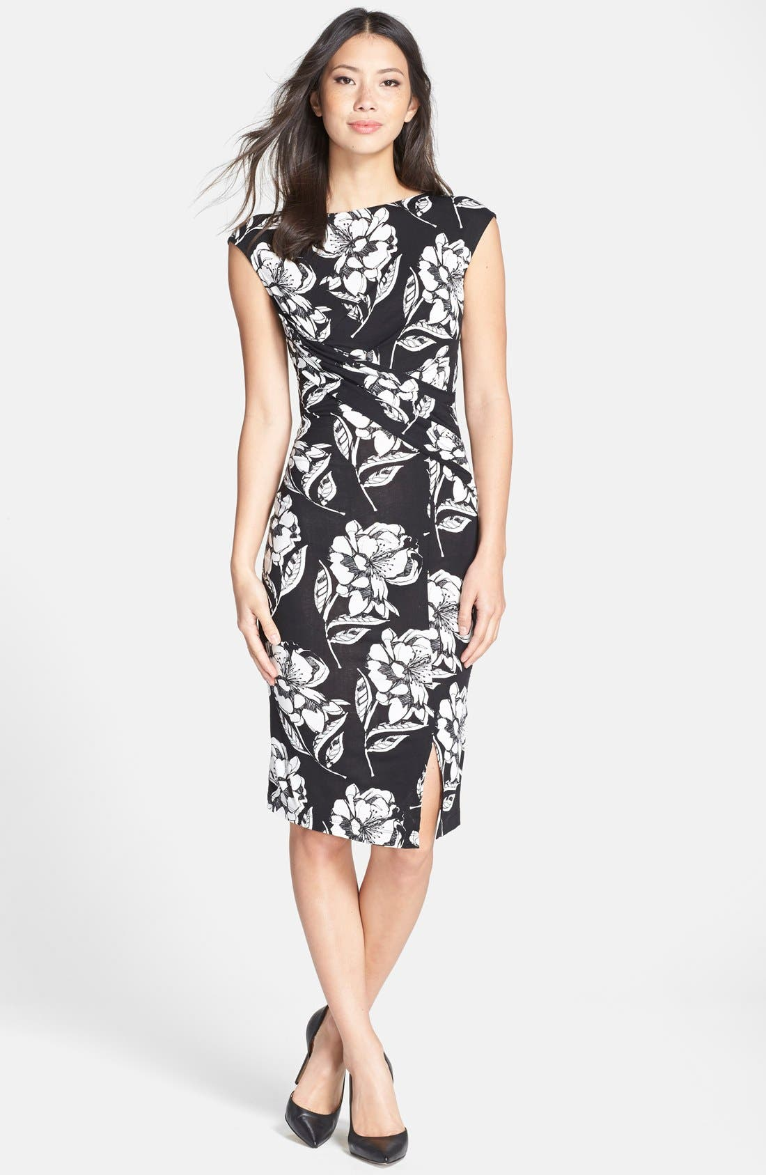 Main Image - French Connection 'Shadow Bloom' Flower Print Jersey Sheath Dress