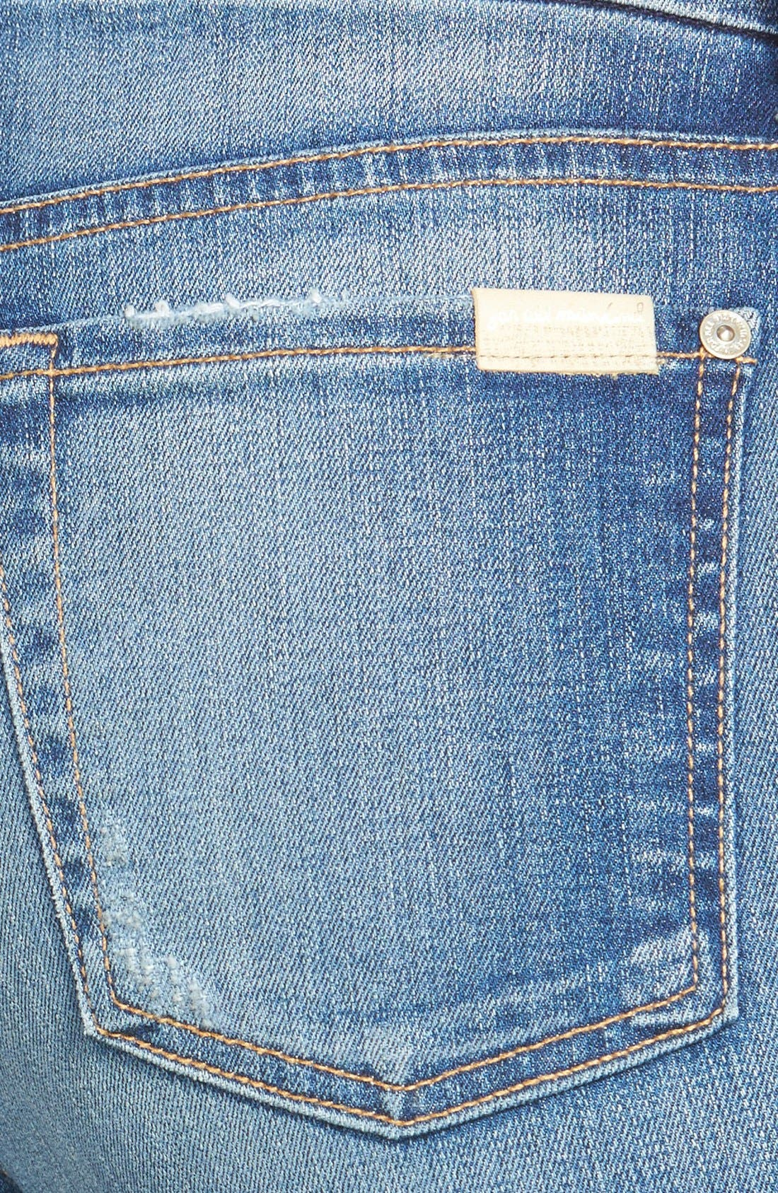 Alternate Image 3  - 7 For All Mankind® Mid Rise Skinny Jeans (Distressed Authentic Light)