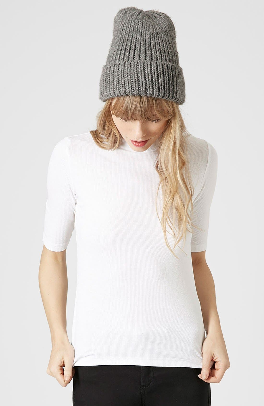 Alternate Image 1 Selected - Topshop Ribbed Funnel Neck Top