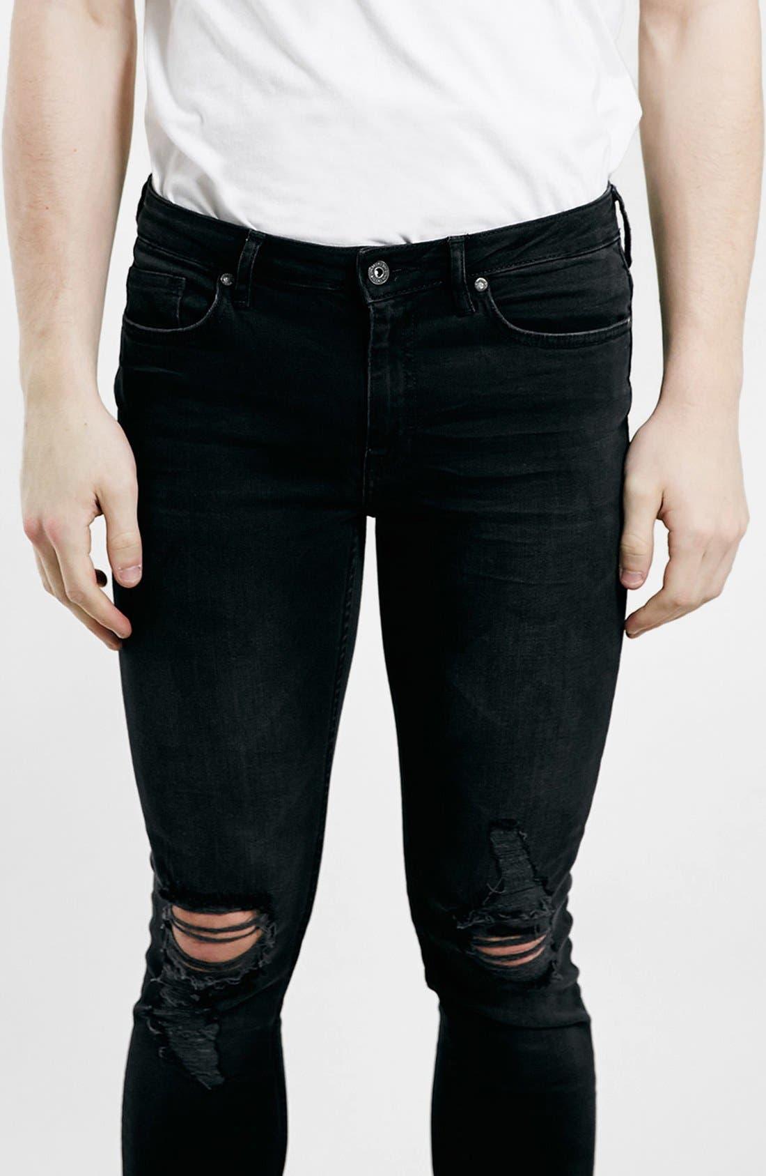 Alternate Image 4  - Topman Ripped Spray On Skinny Jeans (Black)