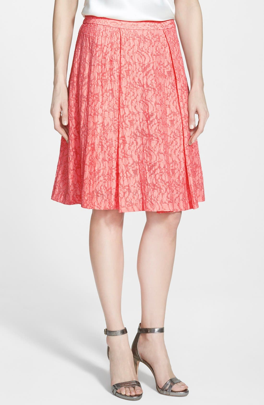Main Image - Vince Camuto Pleated A-Line Skirt (Regular & Petite)