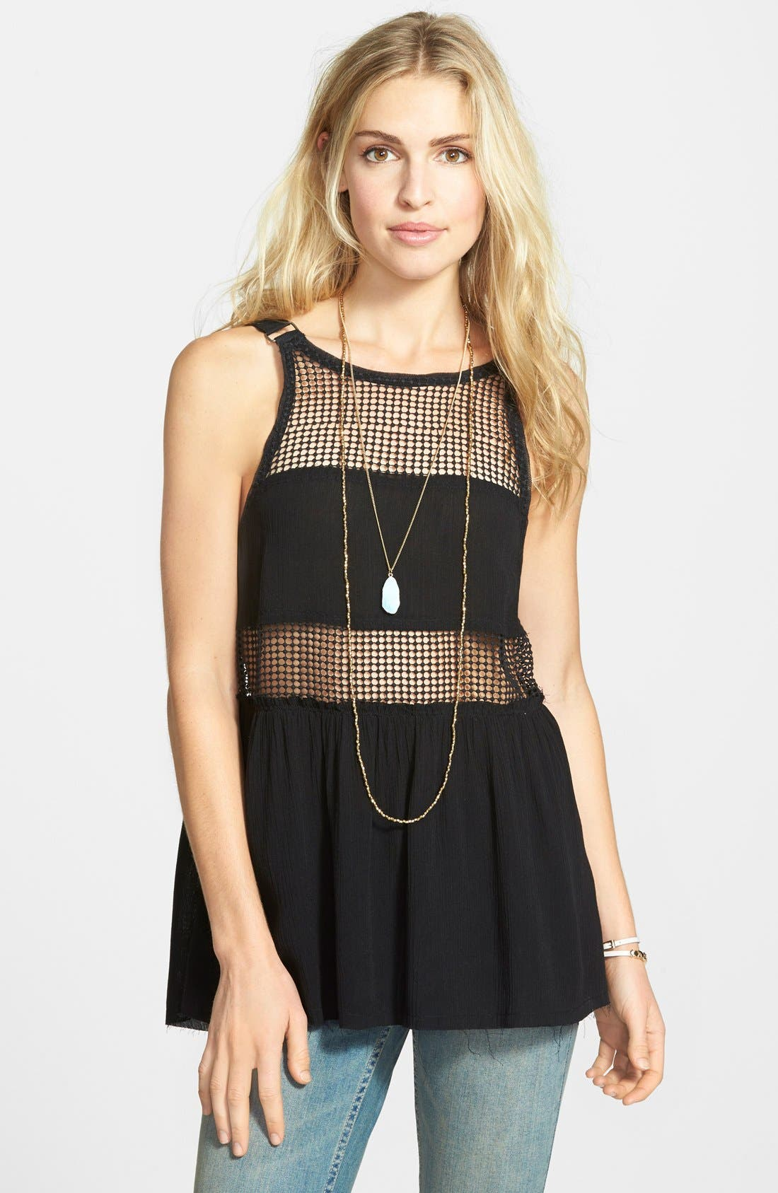 Main Image - Free People 'Snap Out of It' Sheer Panel Tank