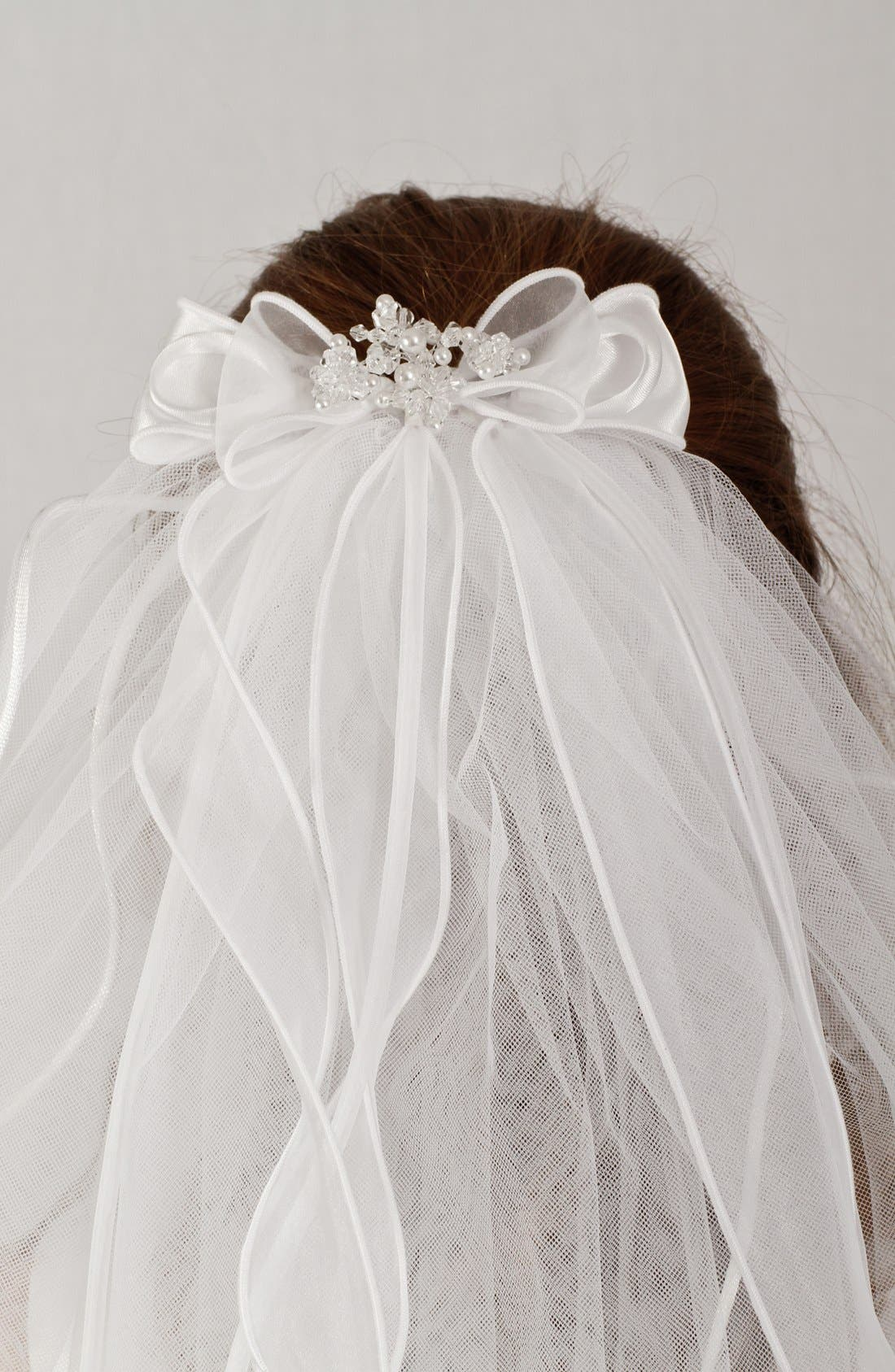 Alternate Image 4  - Lauren Marie Organza Bow Veil (Girls)