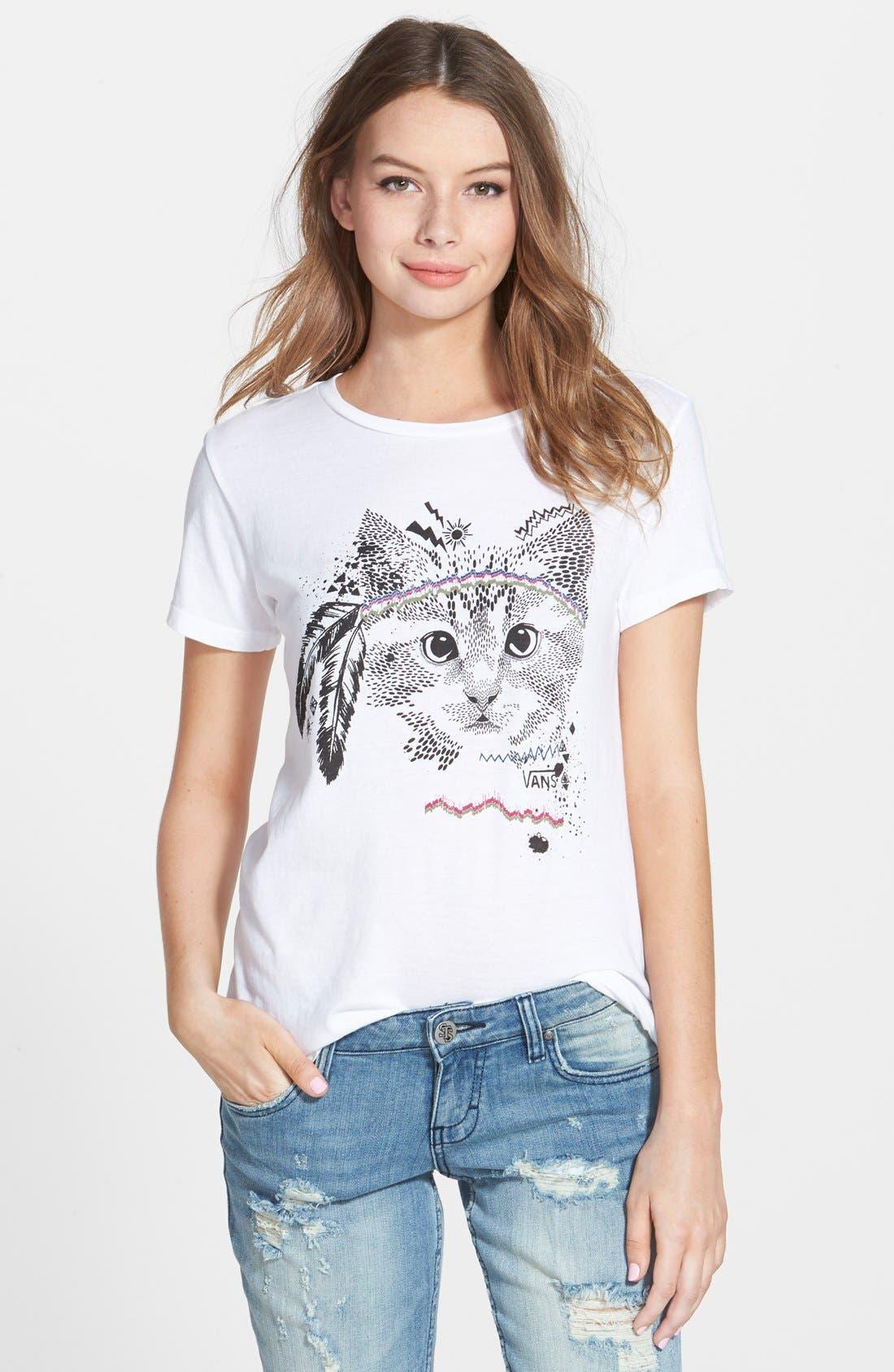 Alternate Image 1 Selected - Vans Cat Graphic Tee (Juniors)