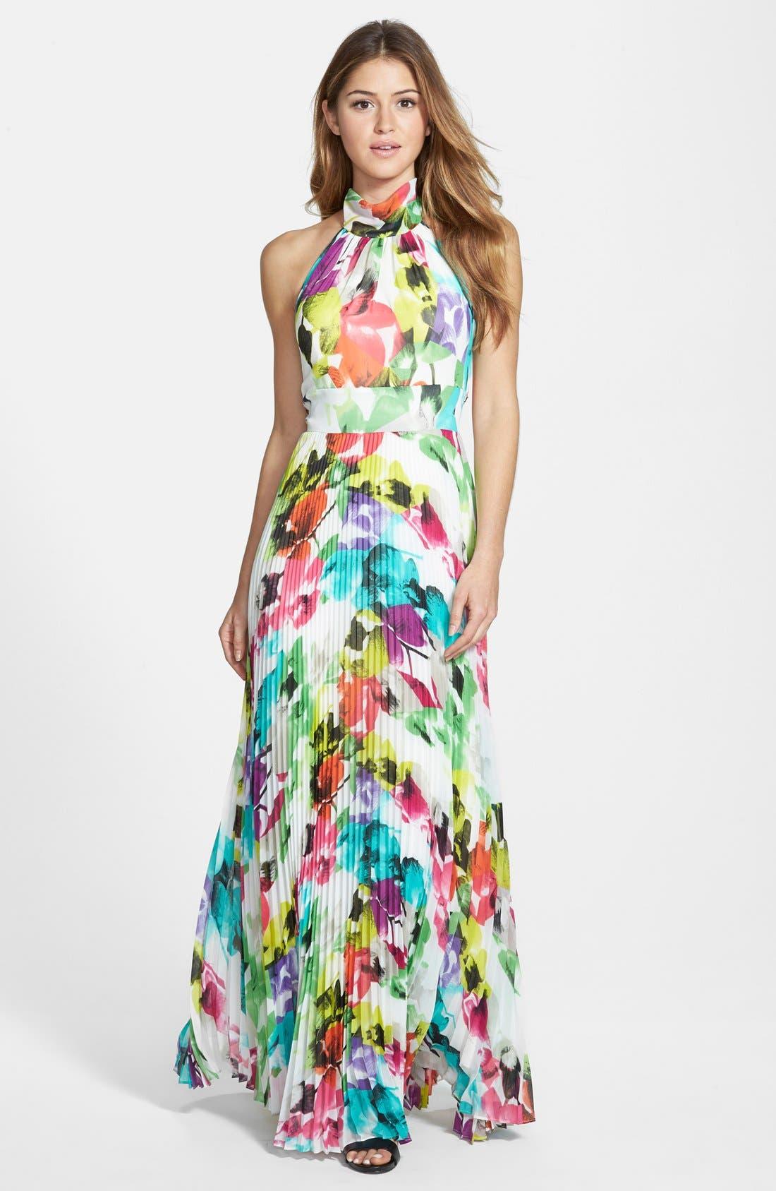 Main Image - Eliza J Print Chiffon Halter Maxi Dress